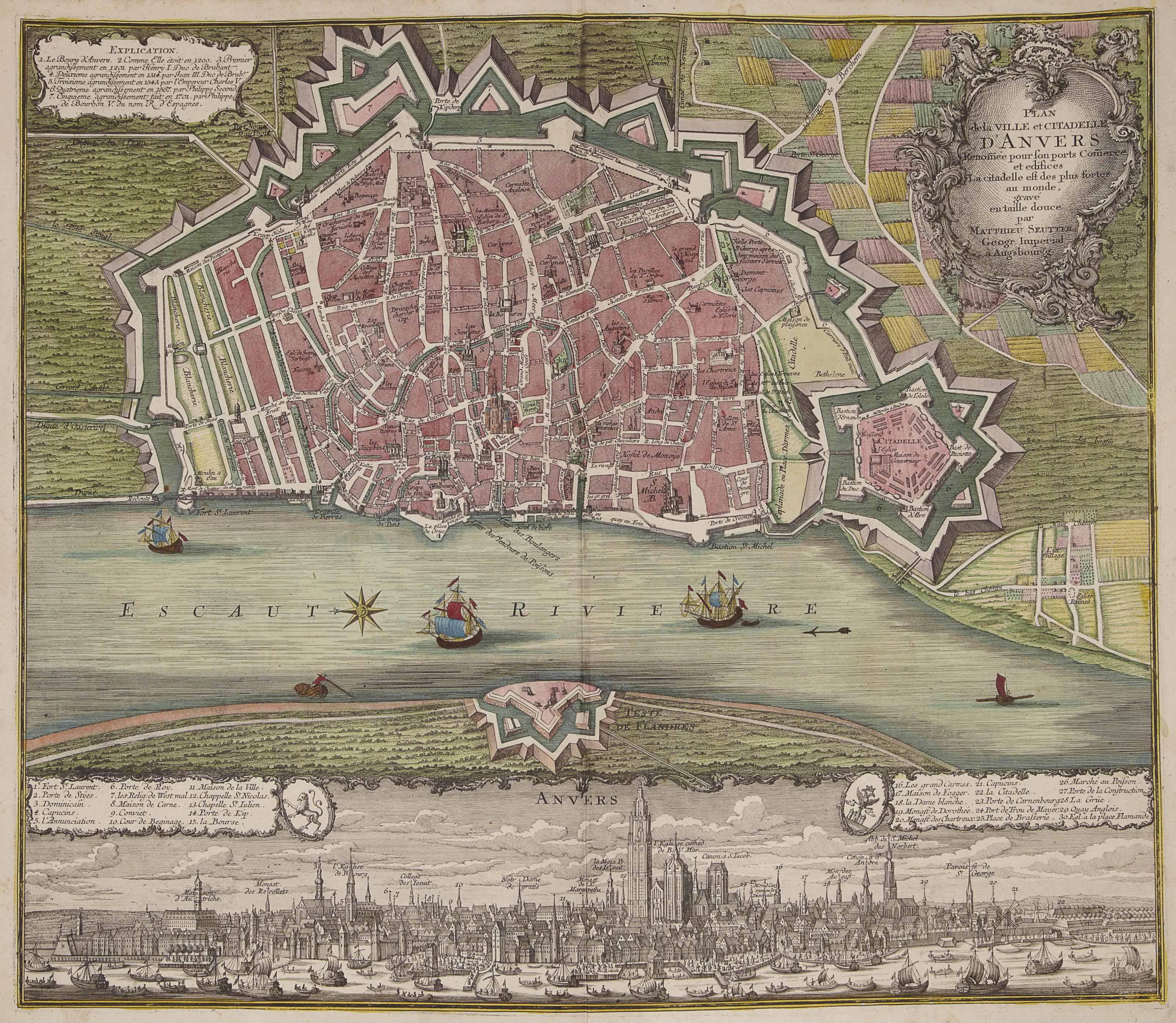 [ATLAS] -- Recueil de Cartes géographiques et Plans. Collection de 64 cartes, pour la plupart des ateliers de Seutter et Homann. Augsbourg vers 1730-1756. Grand in-folio (530 x 330 mm). Demi-veau de l'époque.