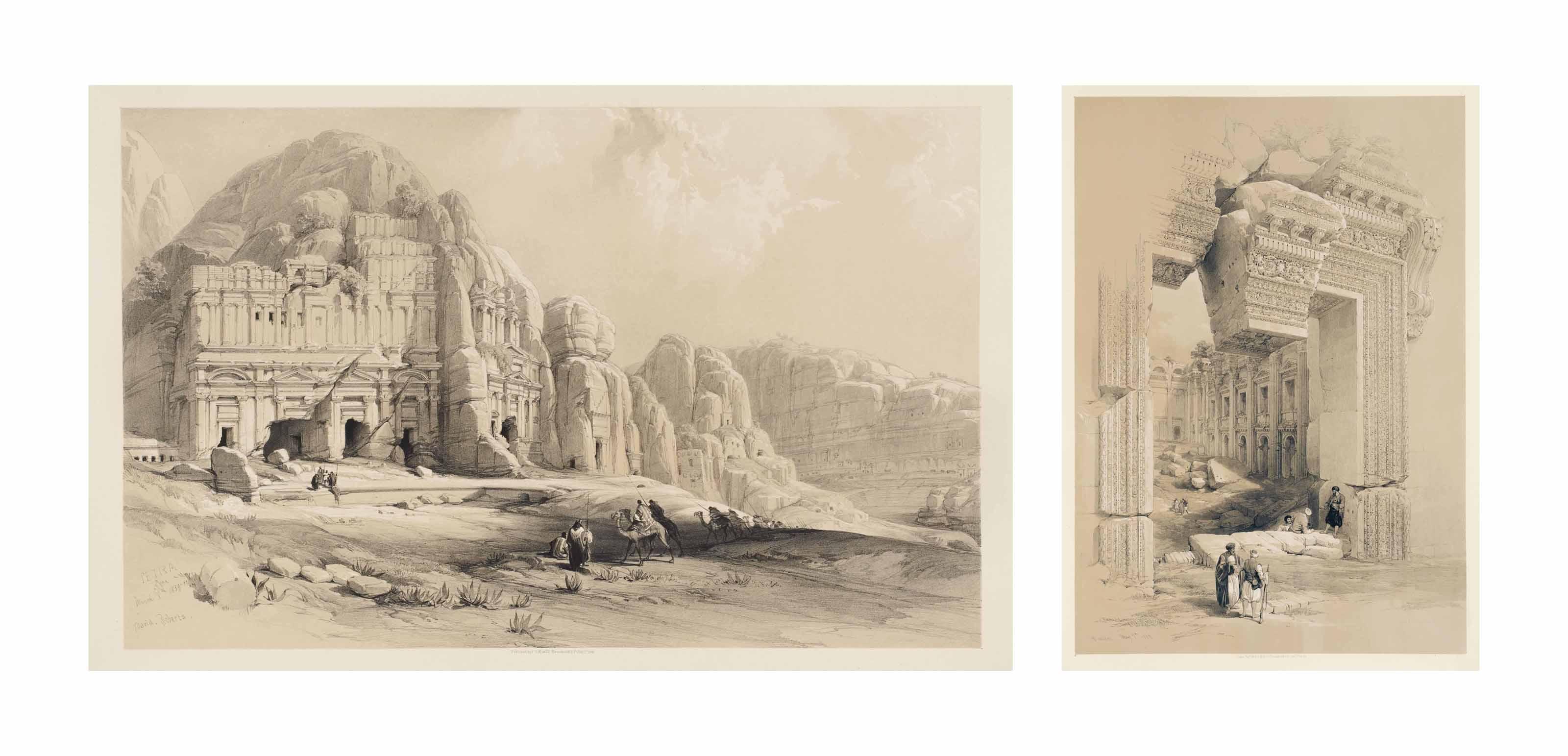 ROBERTS, David (1796-1864) & CROLY, George (1780-1860). The Holy Land, Syria, Idumea, Arabia, Egypt, & Nubia. From Drawings Made on the Spot by David Roberts, R.A. with Historical Descriptions by the Revd. George Croly, L.L.D. Lithographed by Louis Haghe. London, F. G. Moom, 1842-(1845). 3 volumes grands in-folio (608 x 435 mm). Richement orné de 123 lithographies teintées dont le portrait de l'auteur sur Chine appliqué et deux titres, le tout monté sur onglets. Demi-chagrin havane à coins, plats en percaline originale ornés du titre et blasons dorés sur les plats supérieurs, dos à nerfs ornés.