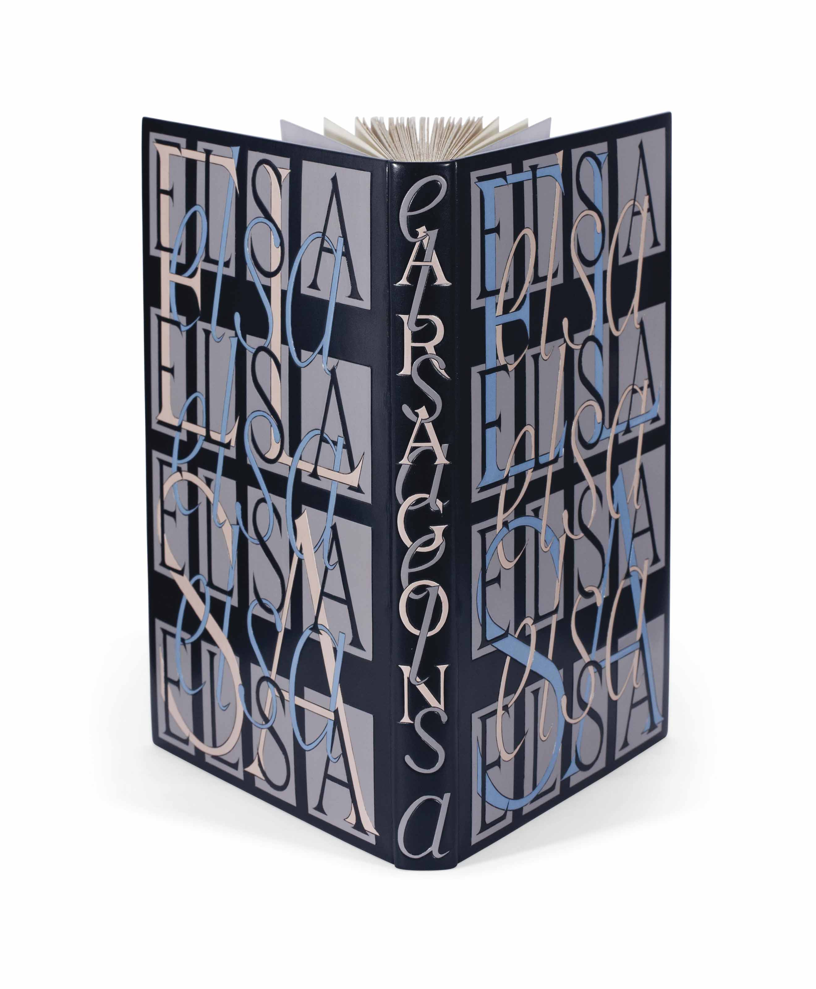 """ARAGON, Louis (1897-1982). Elsa. Poème. Paris: NRF, 17 février 1959. In-4 (235 x 181 mm). Reliure lettrée signée P.-L. Martin au contreplat, box noir, plats entièrement ornés du prénom """"Elsa"""" répété dans des typographies différentes de box mosaïqué bleu, noir et rose, les lettres s'enchevêtrant, dos lisse avec nom de l'auteur et titre en long mosaïqués, doublure et gardes de box gris, tranches dorées sur témoins, couverture et dos, chemise de demi-box à bandes, étui."""