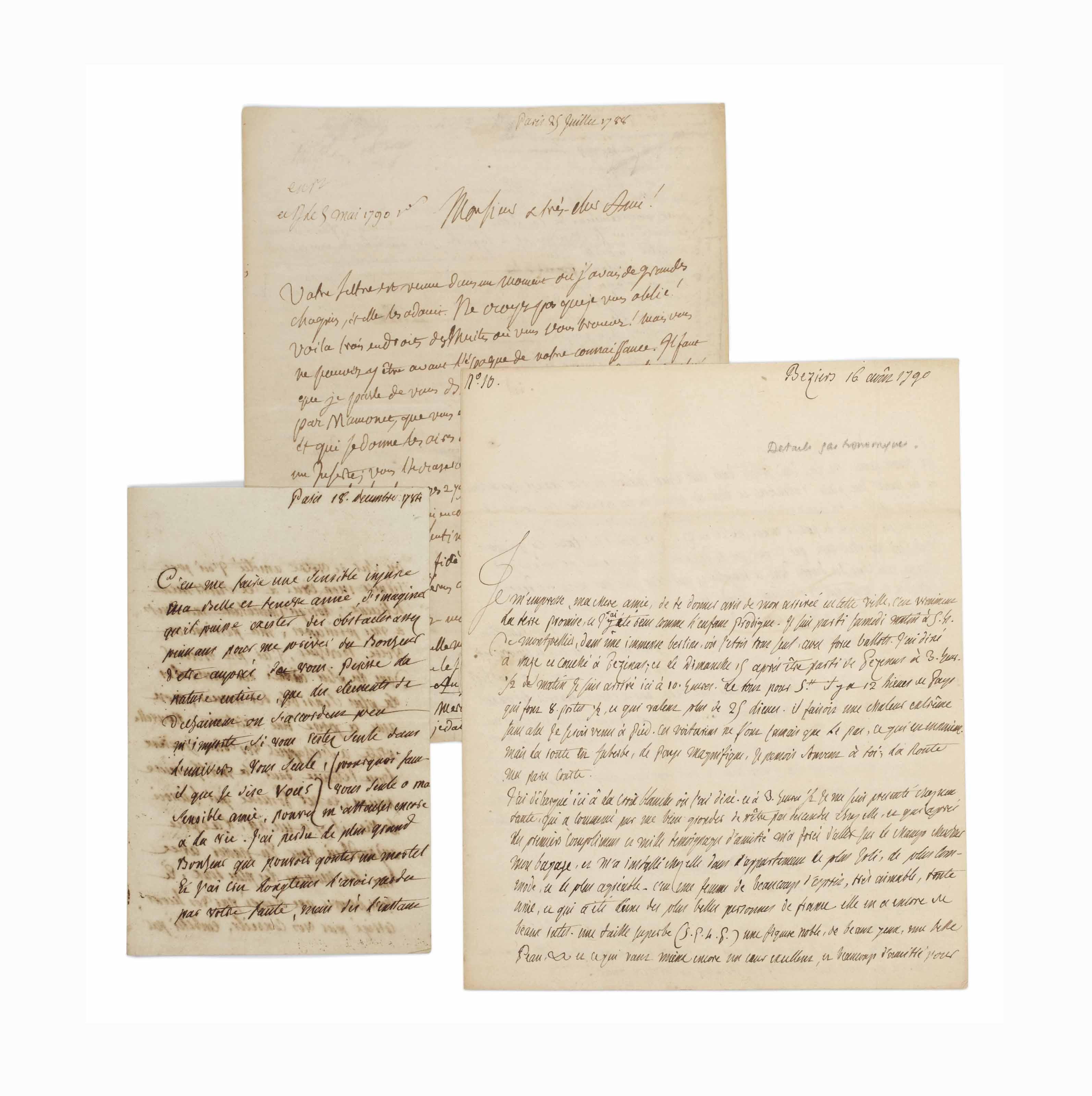 """Alexandre-Balthazar-Laurent GRIMOD DE LA REYNIÈRE (1758-1838). Lettre autographe signée, située et datée """"Paris 18. decembre 1784"""", à Mme Matoire. 4 pages sur un double feuillet in-12 (166 x 108 mm). Encre sépia sur papier vergé."""