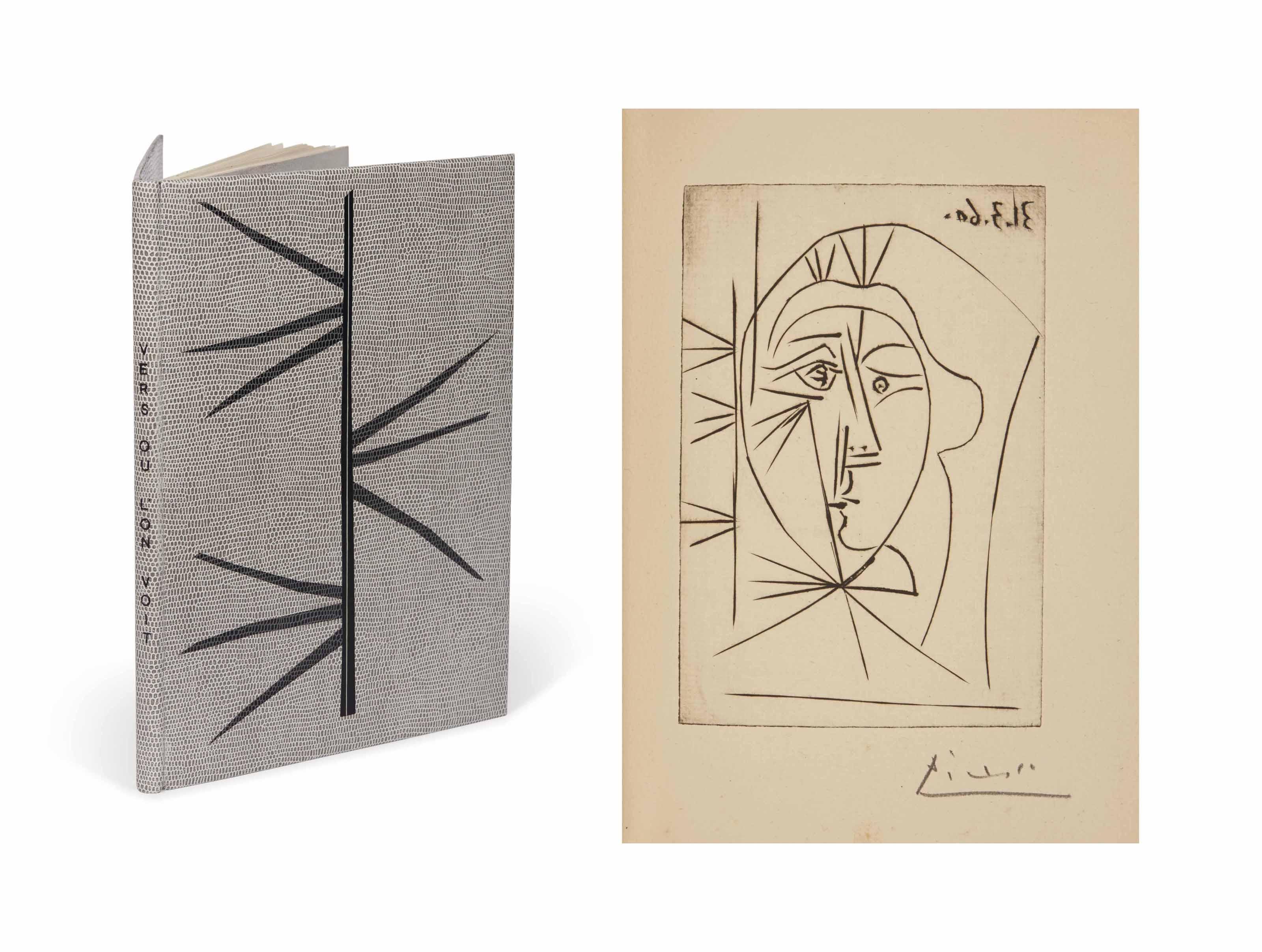 [PICASSO] -- Pierre-André BENOIT (1921-1993). Vers où l'on voit. Alès: [PAB], avril 1960. In-8 (229 x 169 mm). Eau-forte originale de Picasso en frontispice, signée au crayon. Reliure signée Leroux au contreplat et datée 1986, veau gris clair imitant la peau de serpent, grand motif vertical mosaïqué sur les plats composé d'une fine bande de box noir et de 9 fines bandes noires imitant le serpent, dos lisse avec le titre en long à l'oeser noir, doublure bord à bord de veau noir imitant le serpent, avec reprise du décor, gardes de daim gris, tête dorée, couverture, chemise et étui assortis.