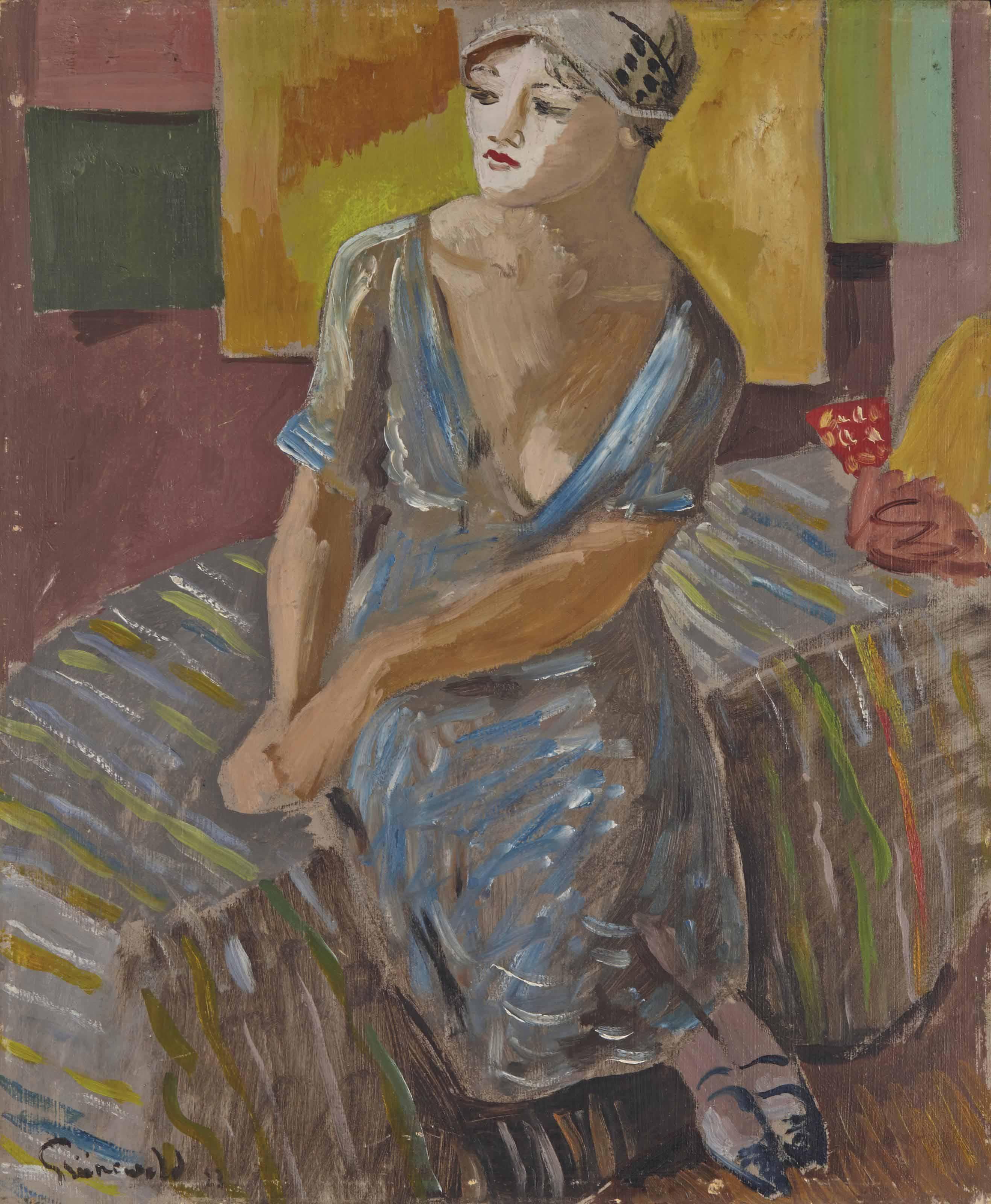 Femme à la robe bleue