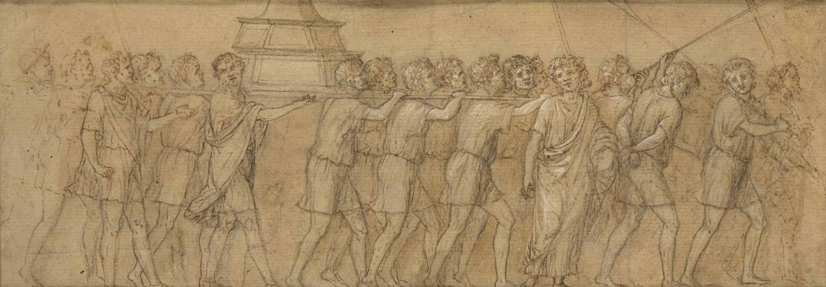 Procession de prisonniers juifs portant la Menorah d'or et les trompettes du temple de Jérusalem