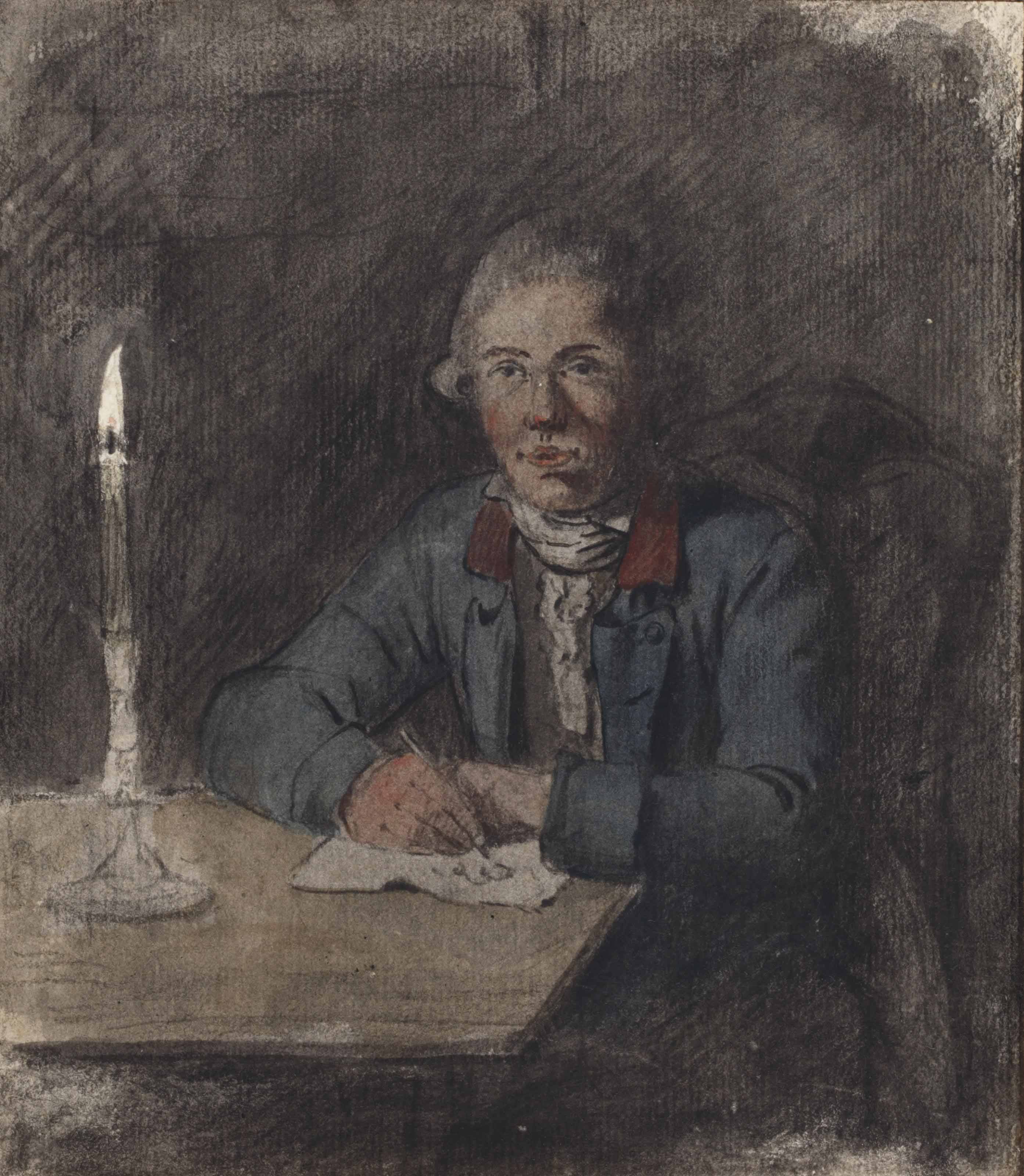 Self-Portrait at a table with a candle