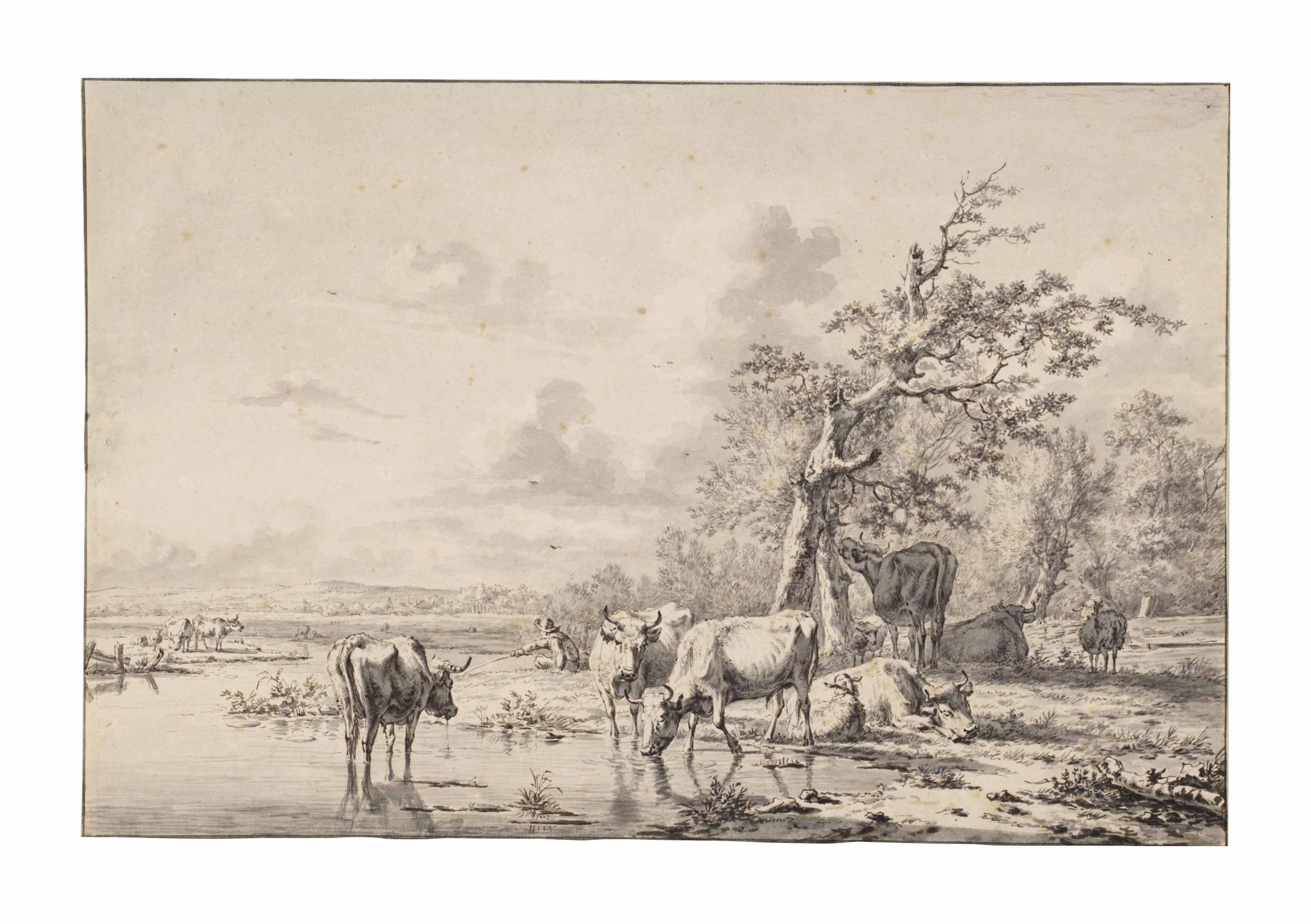 Cattle and sheep resting and watering beside a river