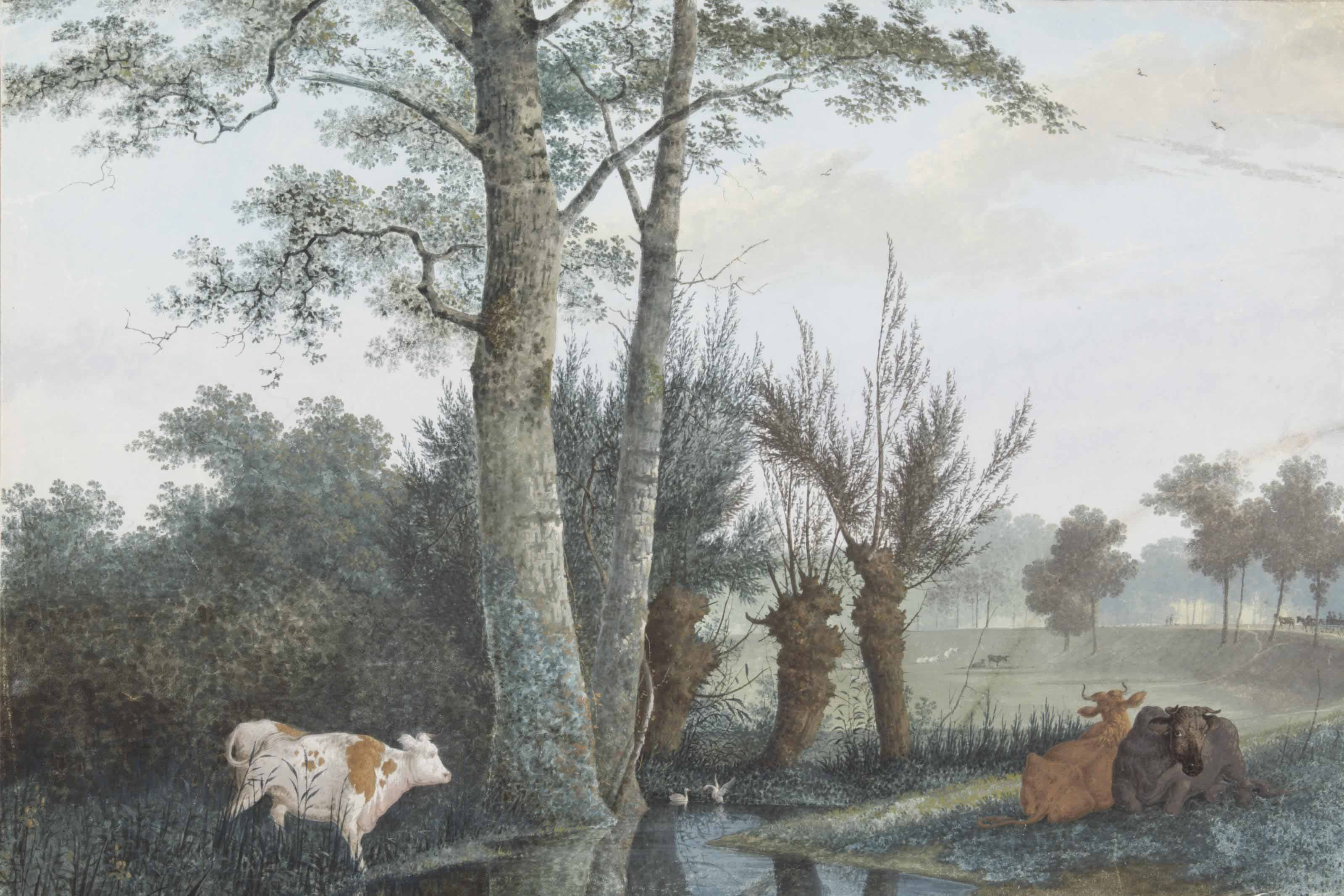 Cows resting beneath trees by a pond, with a carriage on a dyke beyond