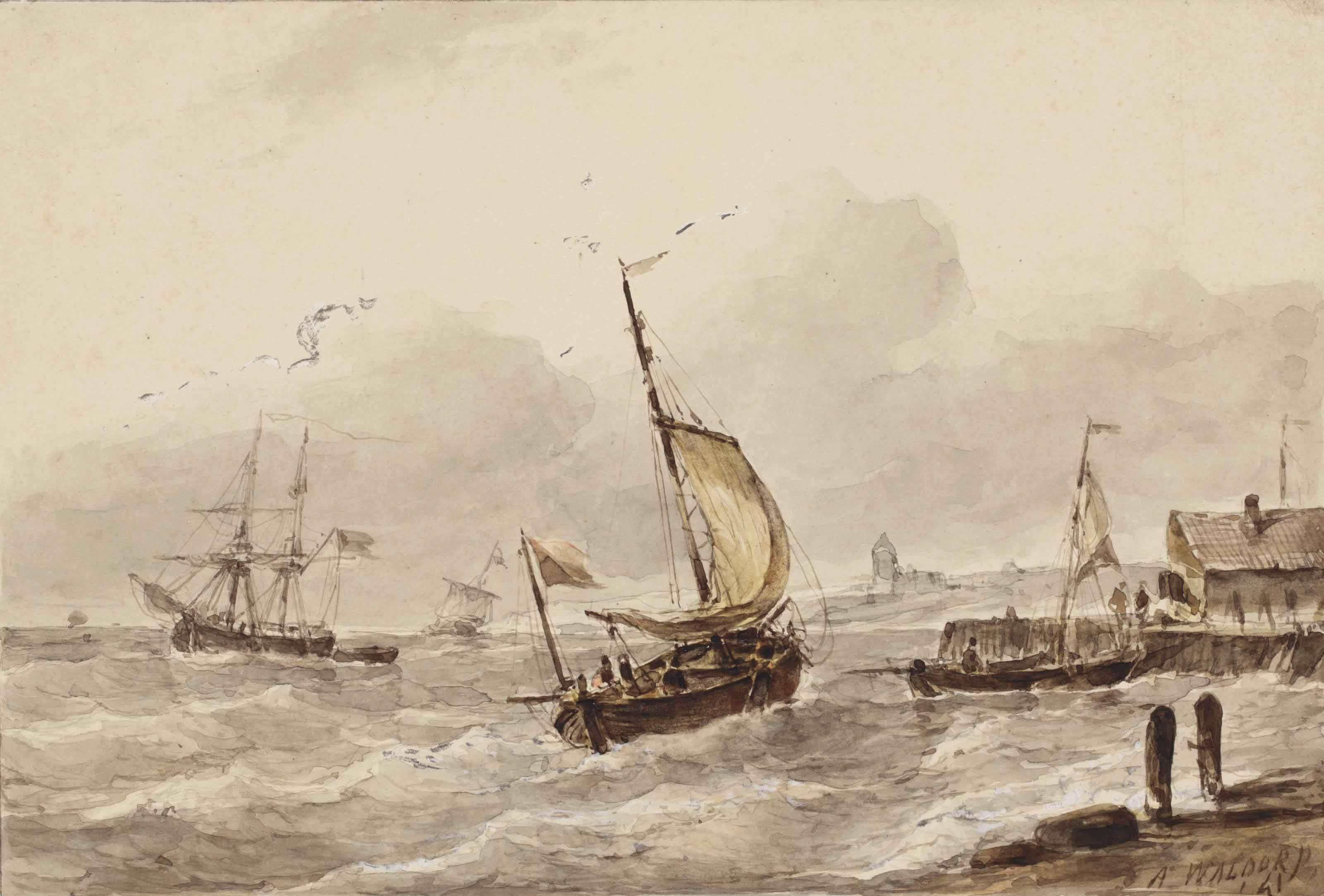 Ships at the harbour entrance of a Dutch town