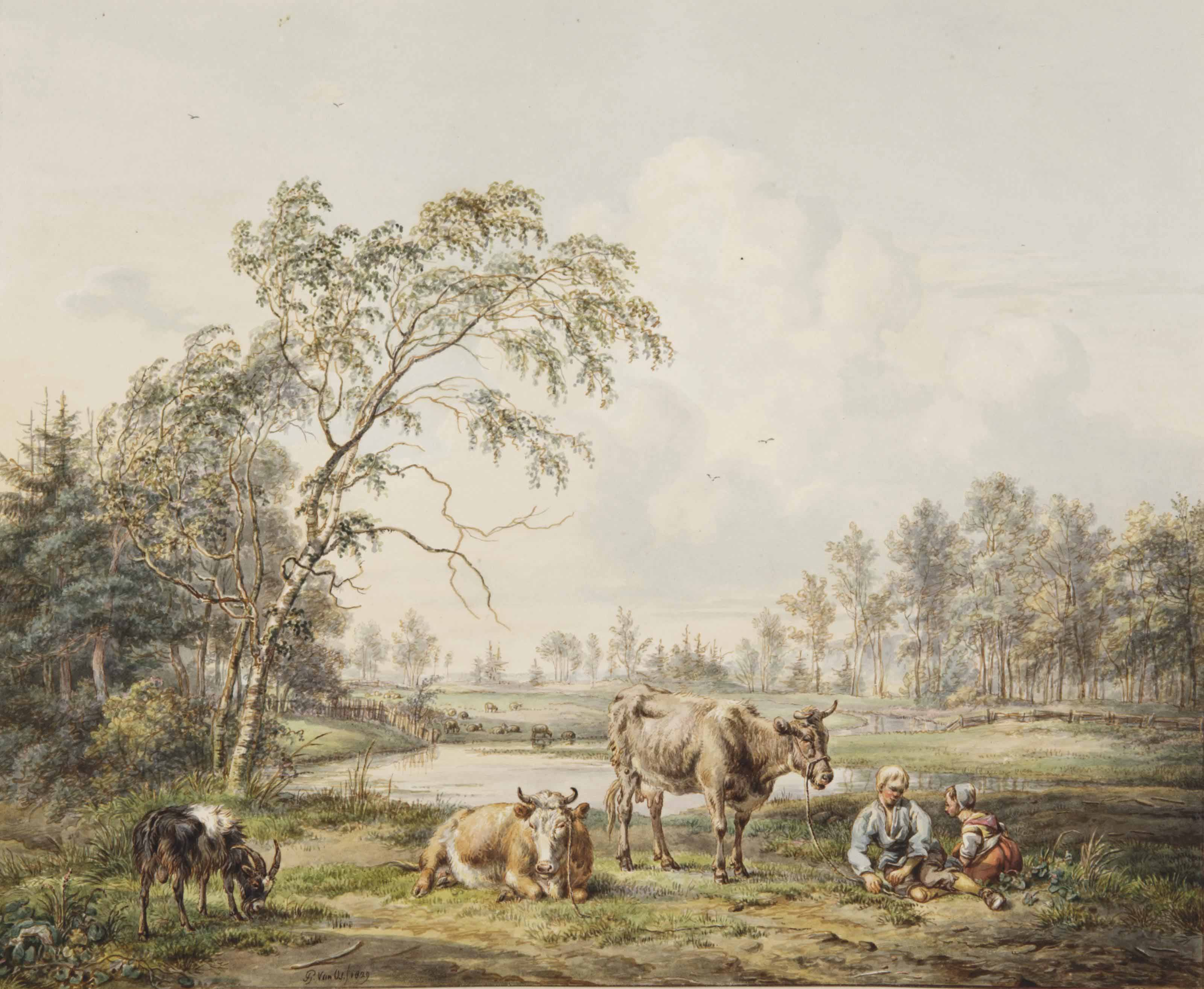 A young peasant couple and their animals resting by a pond