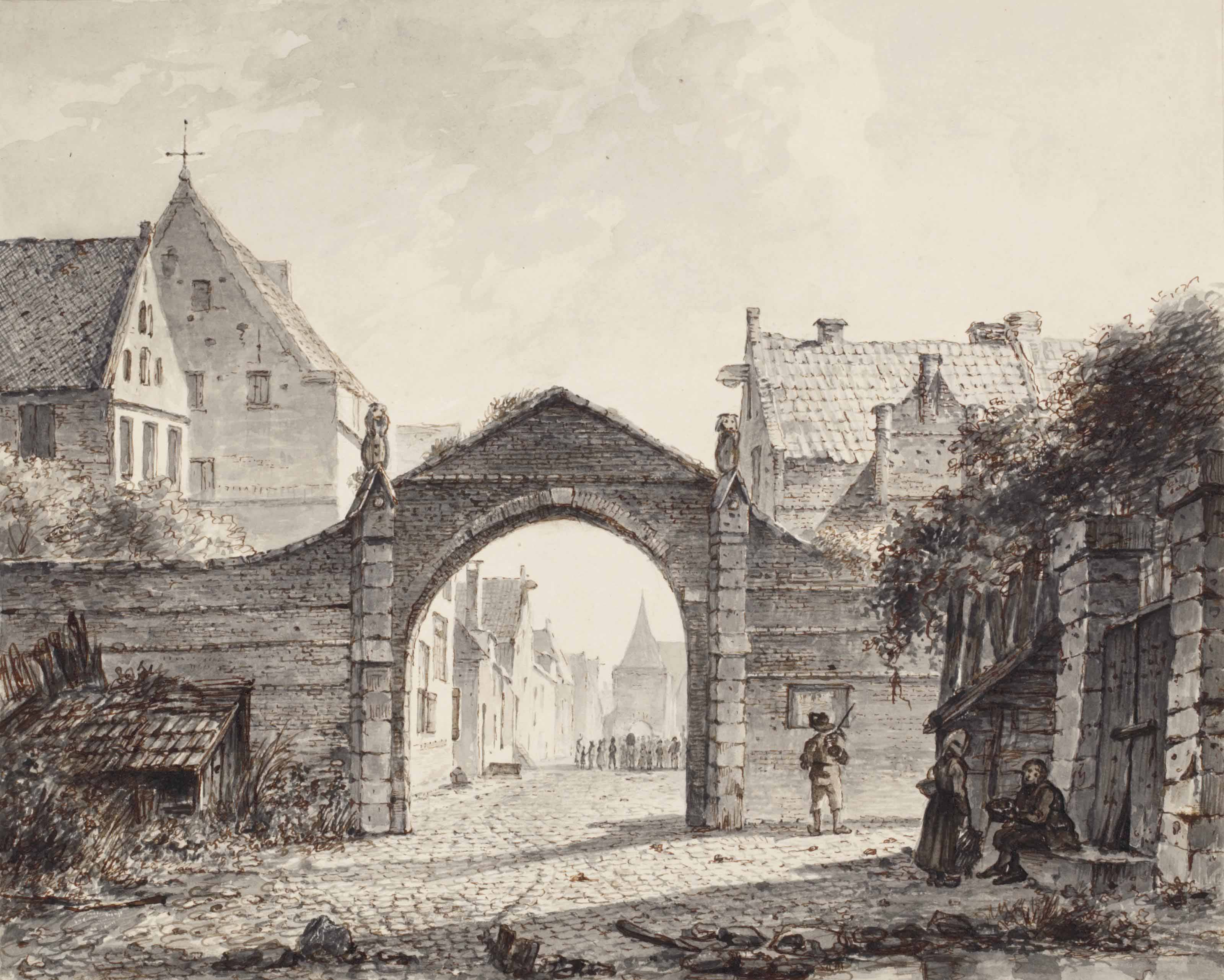 A gateway with a view of a town beyond