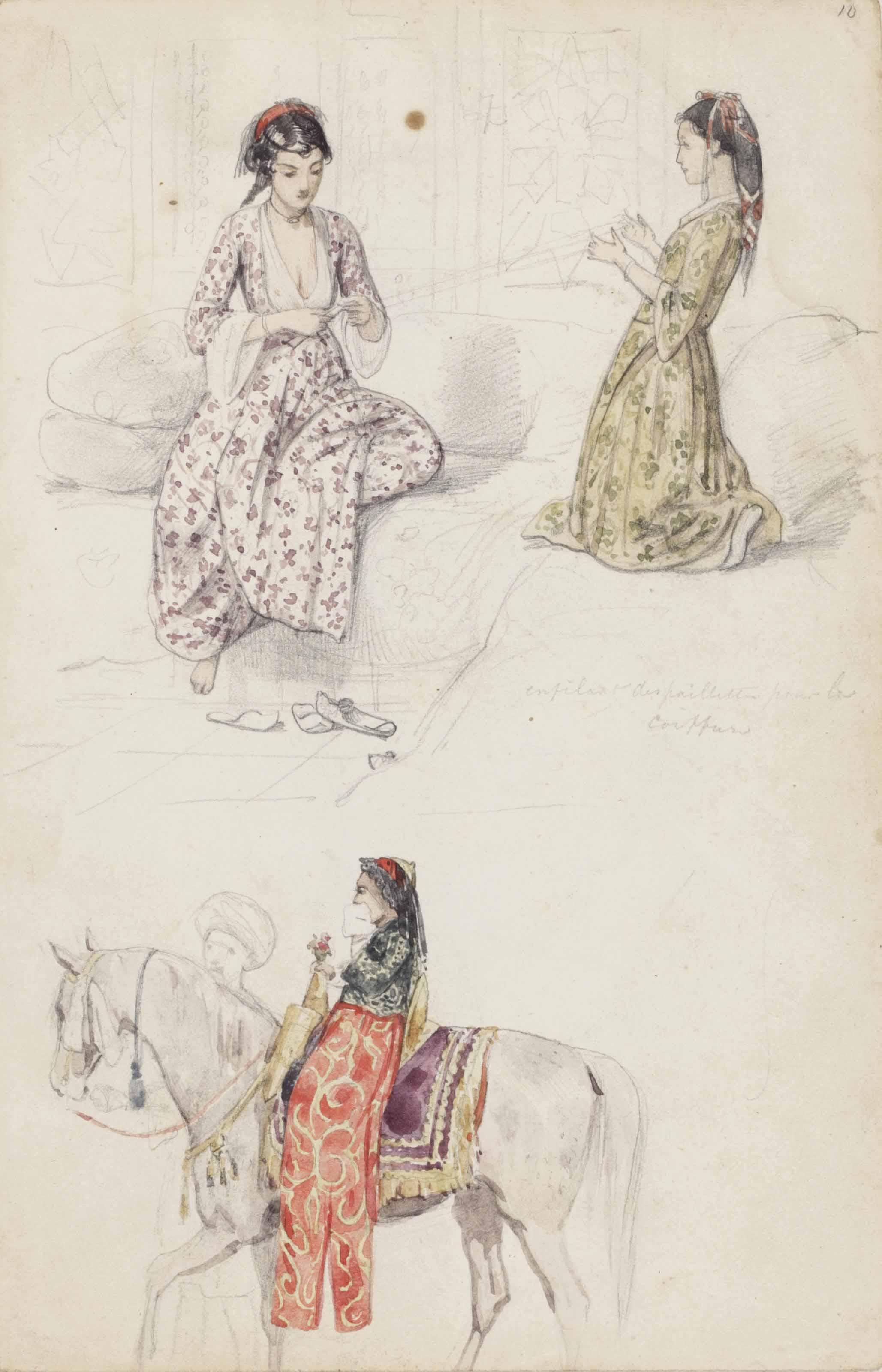 Oriental female figures (recto); Portrait of Elias 'Marsabki' (verso)