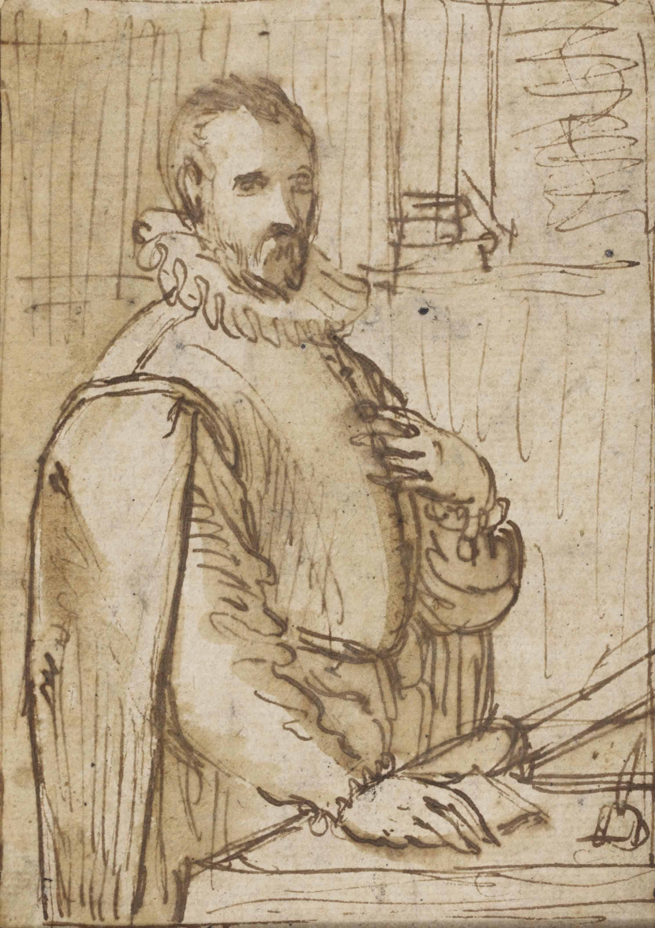 Portrait of a man standing at a desk