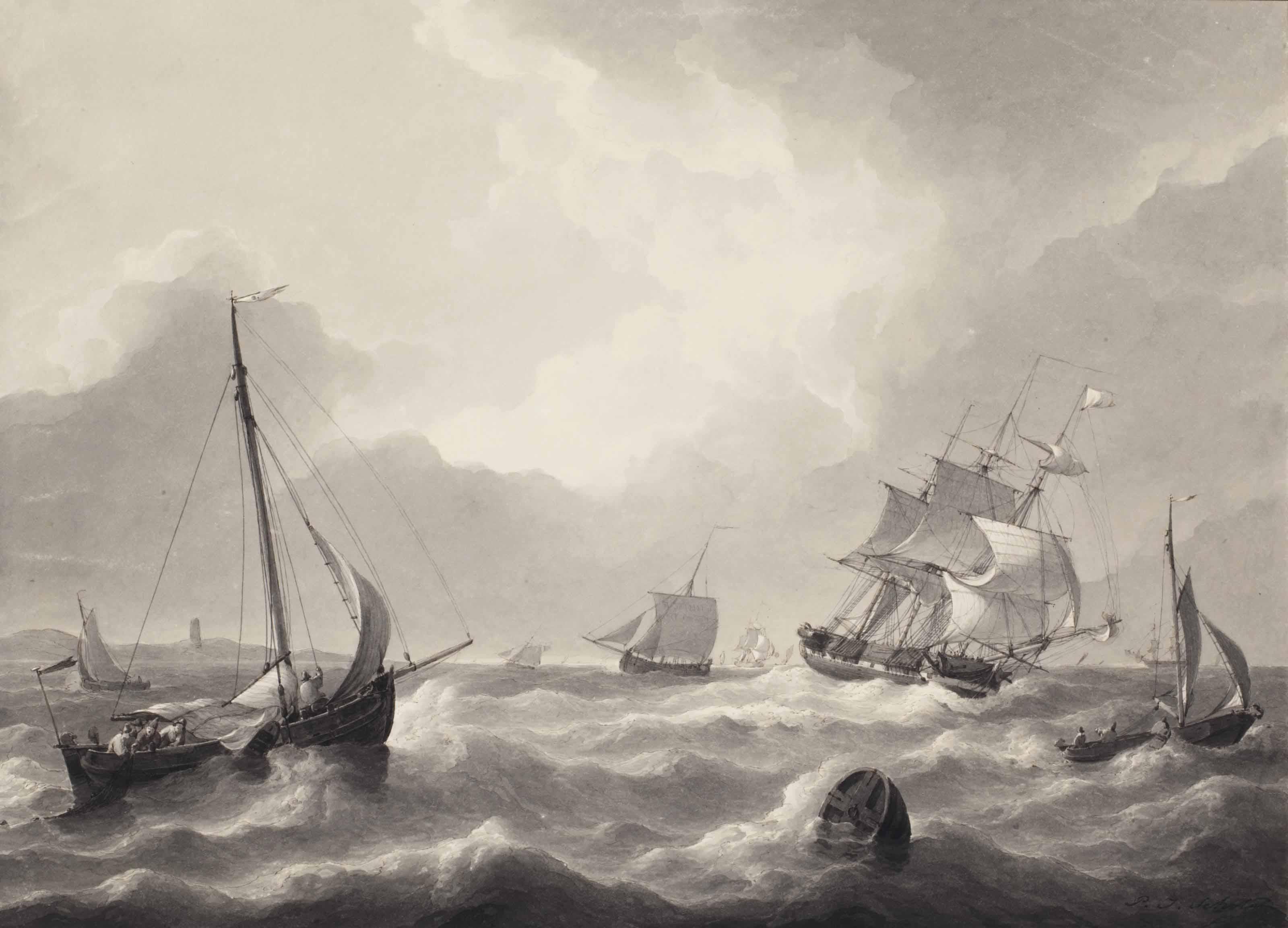 Shipping on a choppy sea, possibly near Katwijk aan Zee