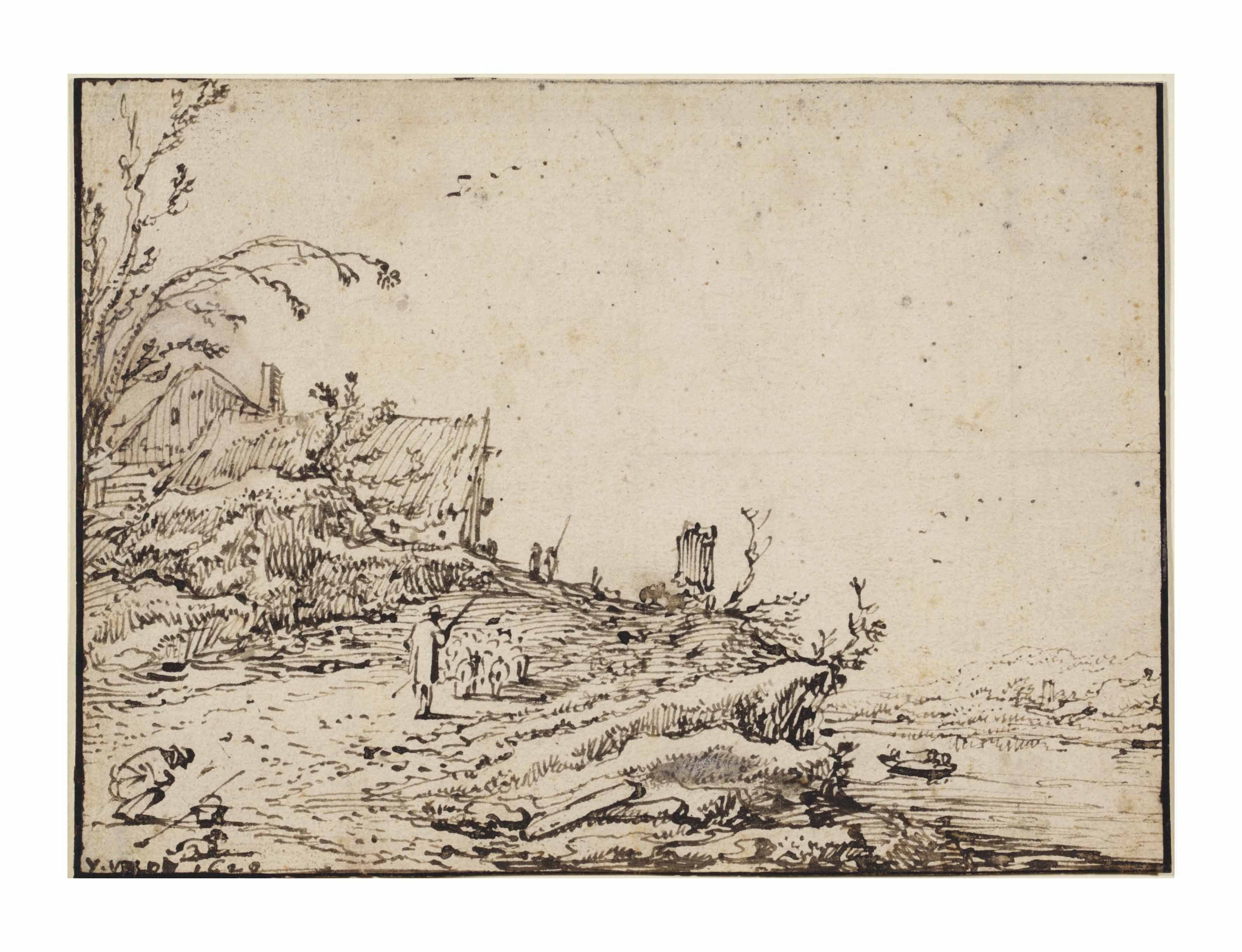 A river landscape with a shepherd driving sheep up a hill towards houses