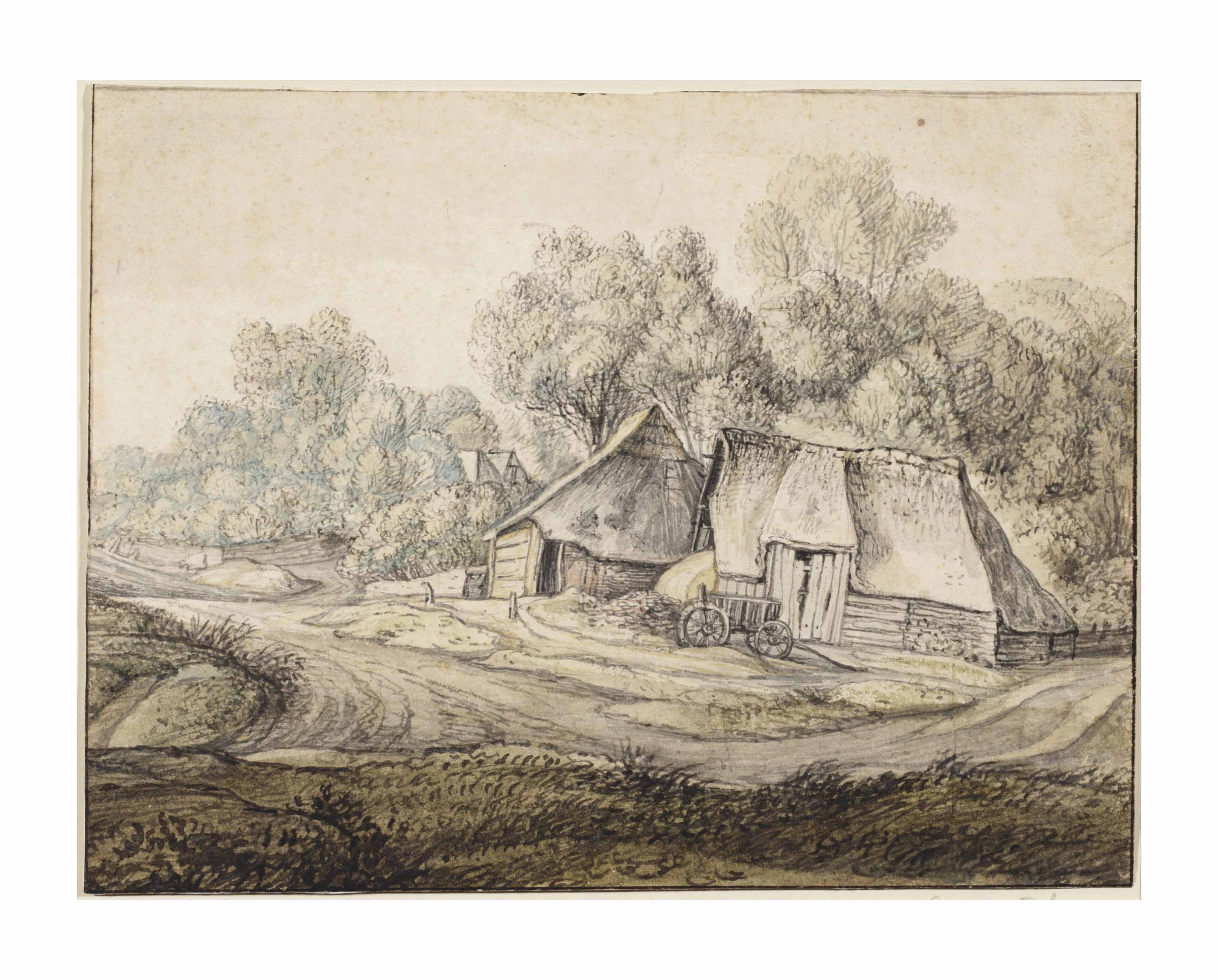 A wooded landscape with farms, by a road