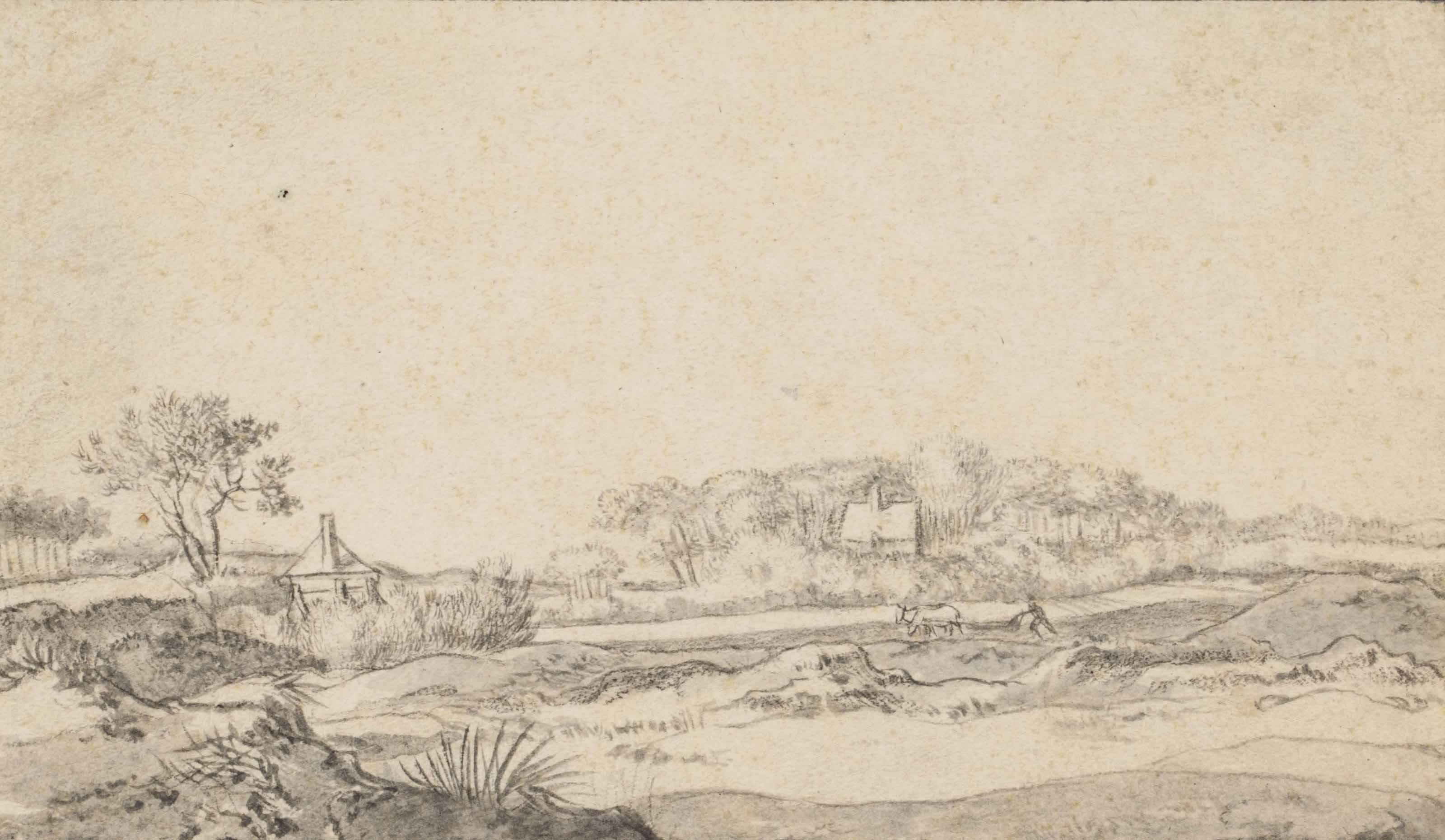 A dune landscape with a farmer ploughing and distant buildings