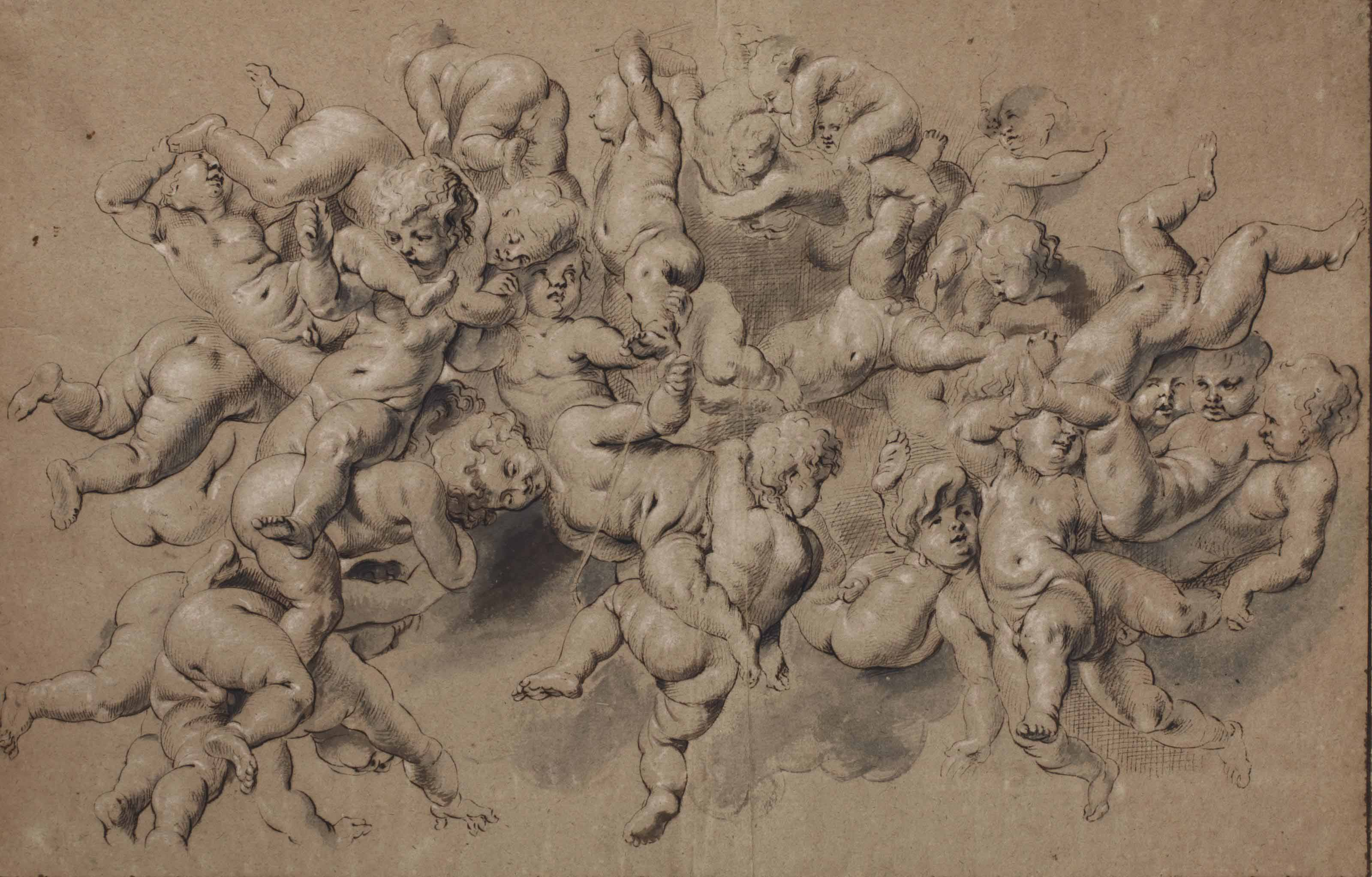 A group of tumbling putti