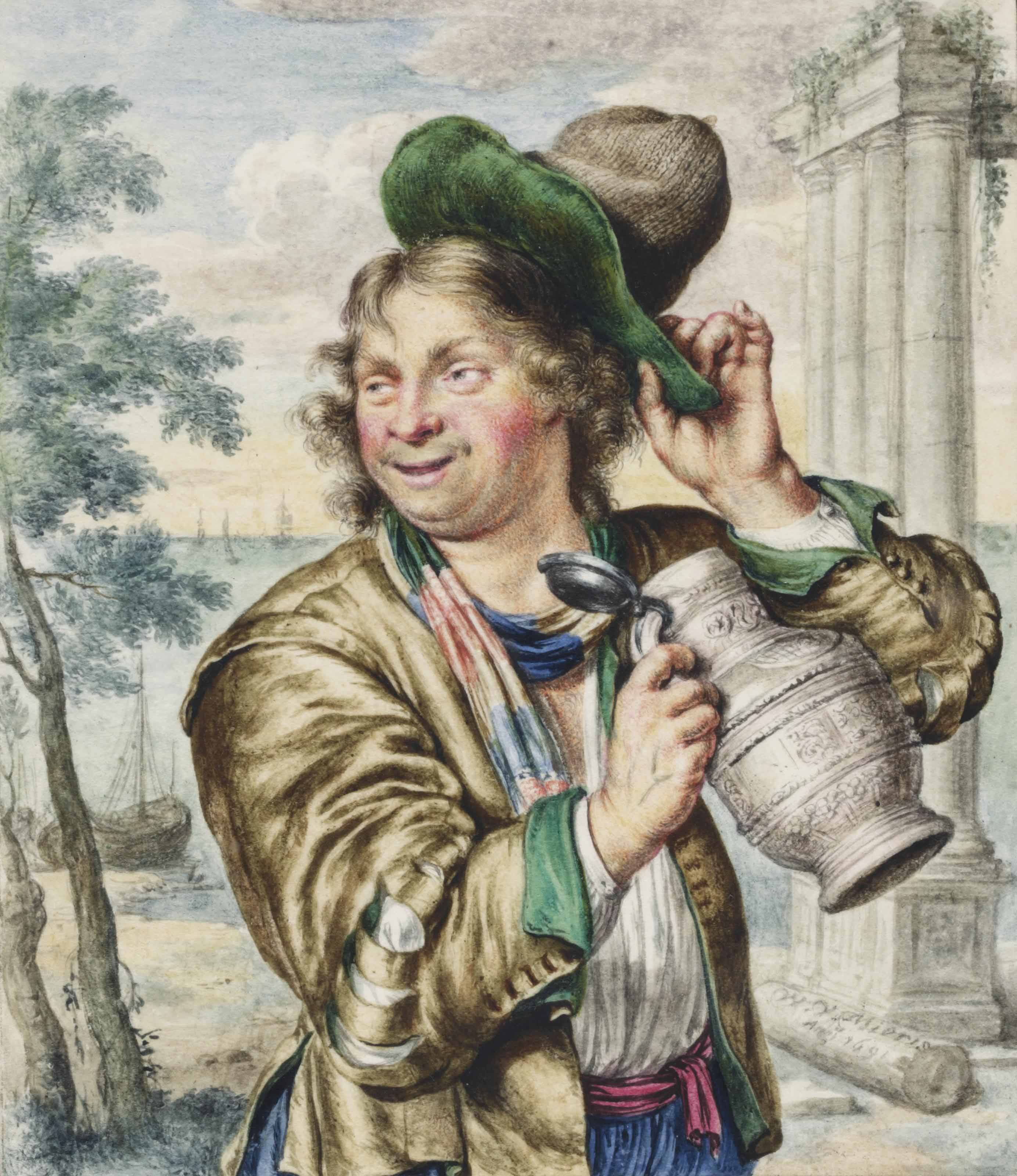 A man holding a tankard