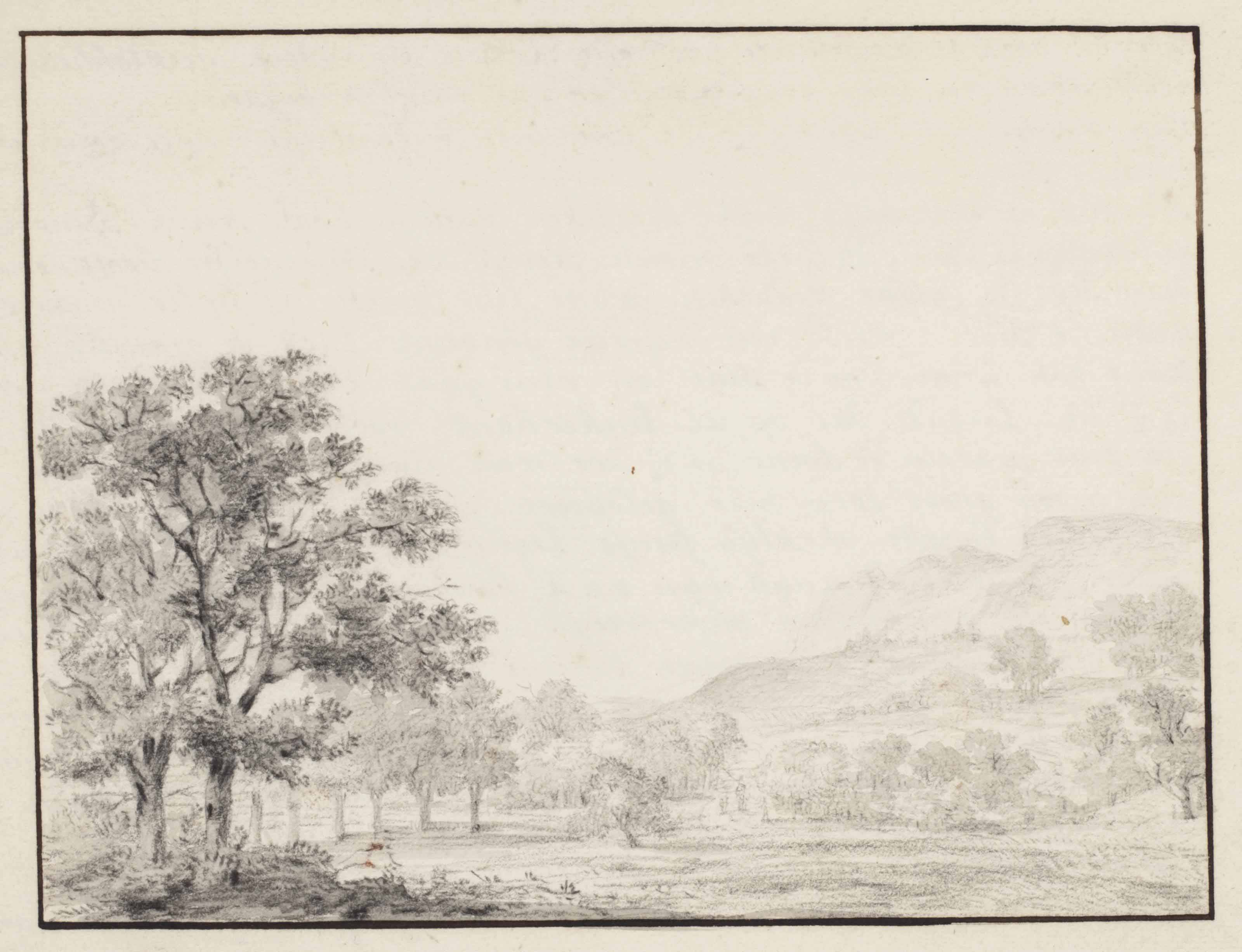 A sketchbook page: An extensive hilly landscape with trees near Nantua, eastern France