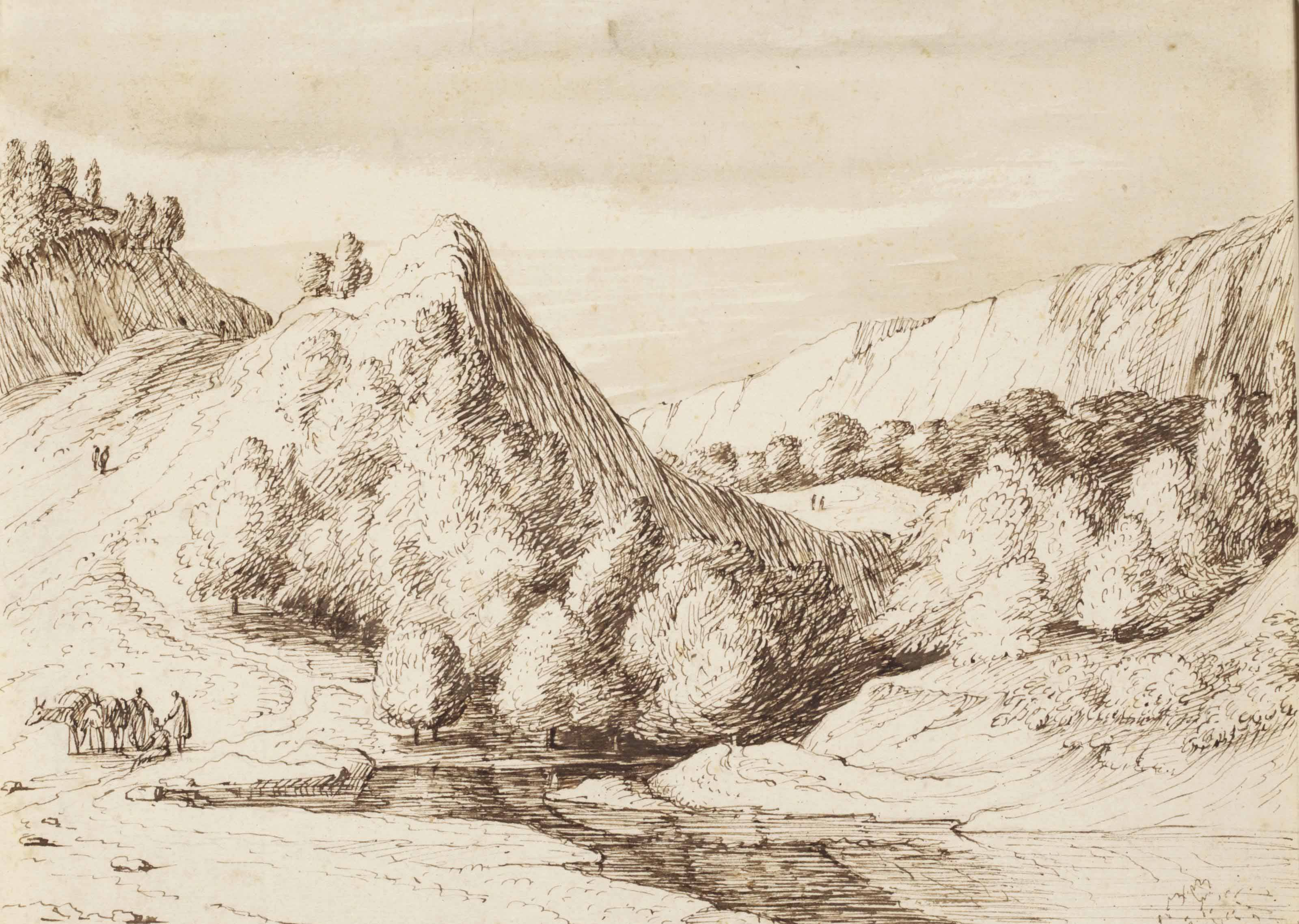 A mountainous landscape with travellers by a river