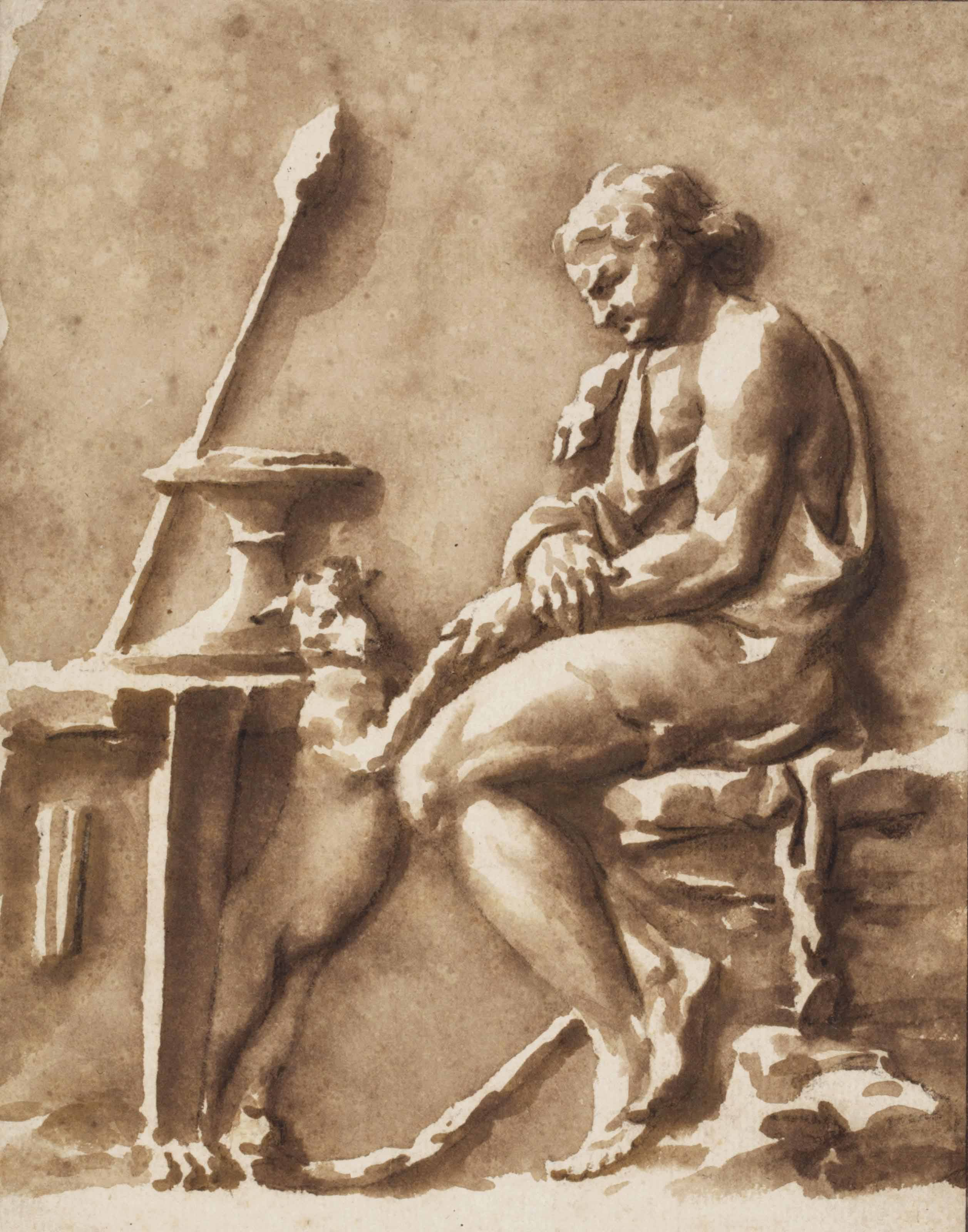 Copy of an antique bas-relief: Dionysus seated by a table