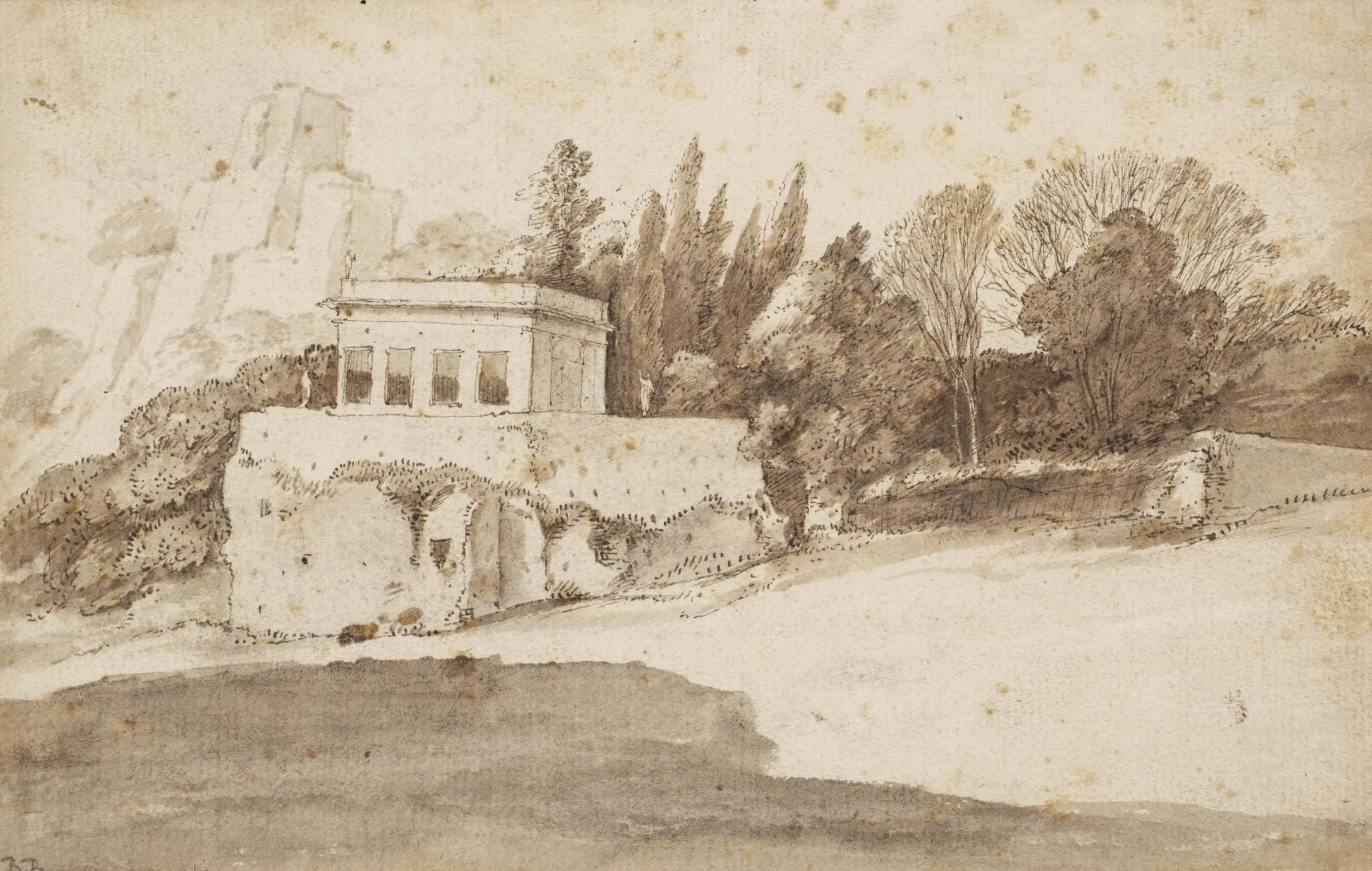 A landscape with a casino (recto); Study of trees (verso)