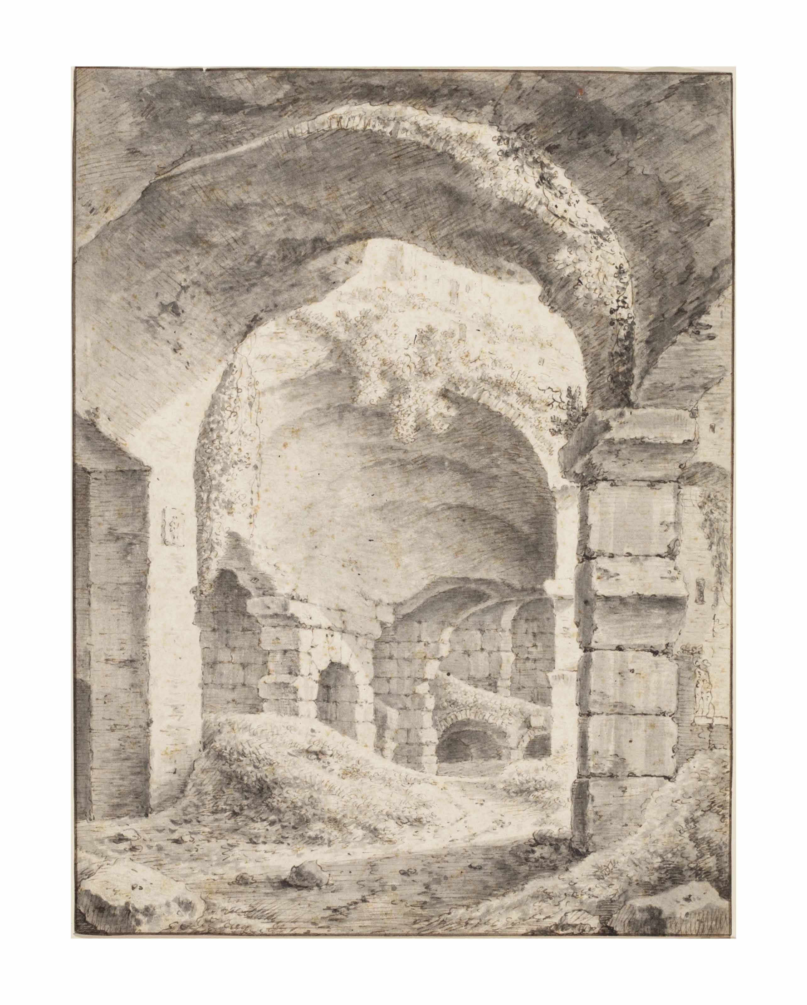 View of Roman ruins (possibly the Colosseum)