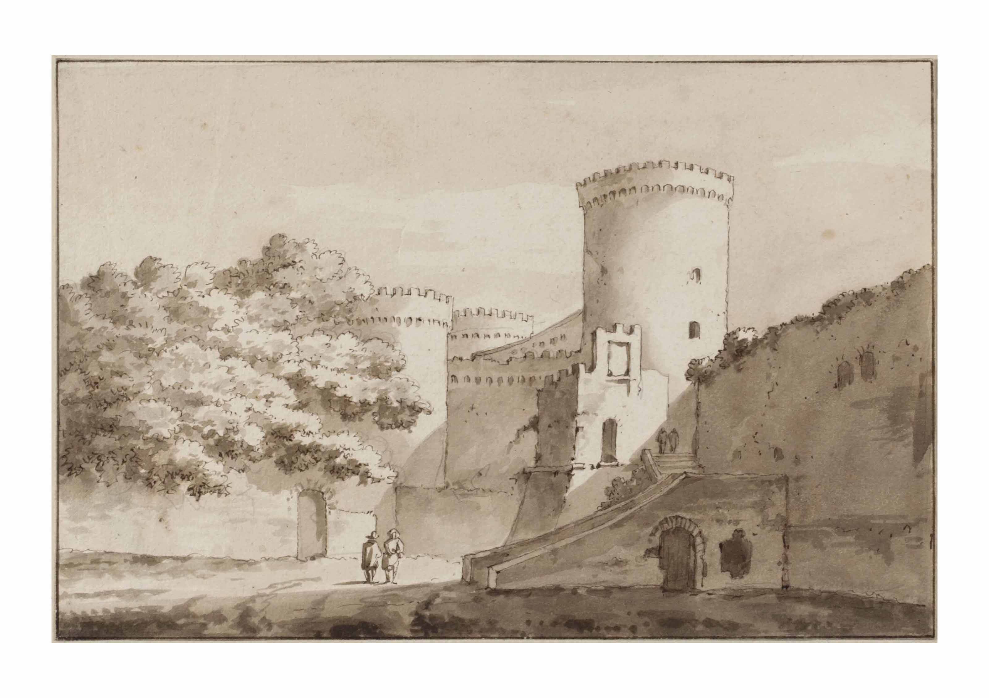 View of a castle, probably Castel Gandolfo