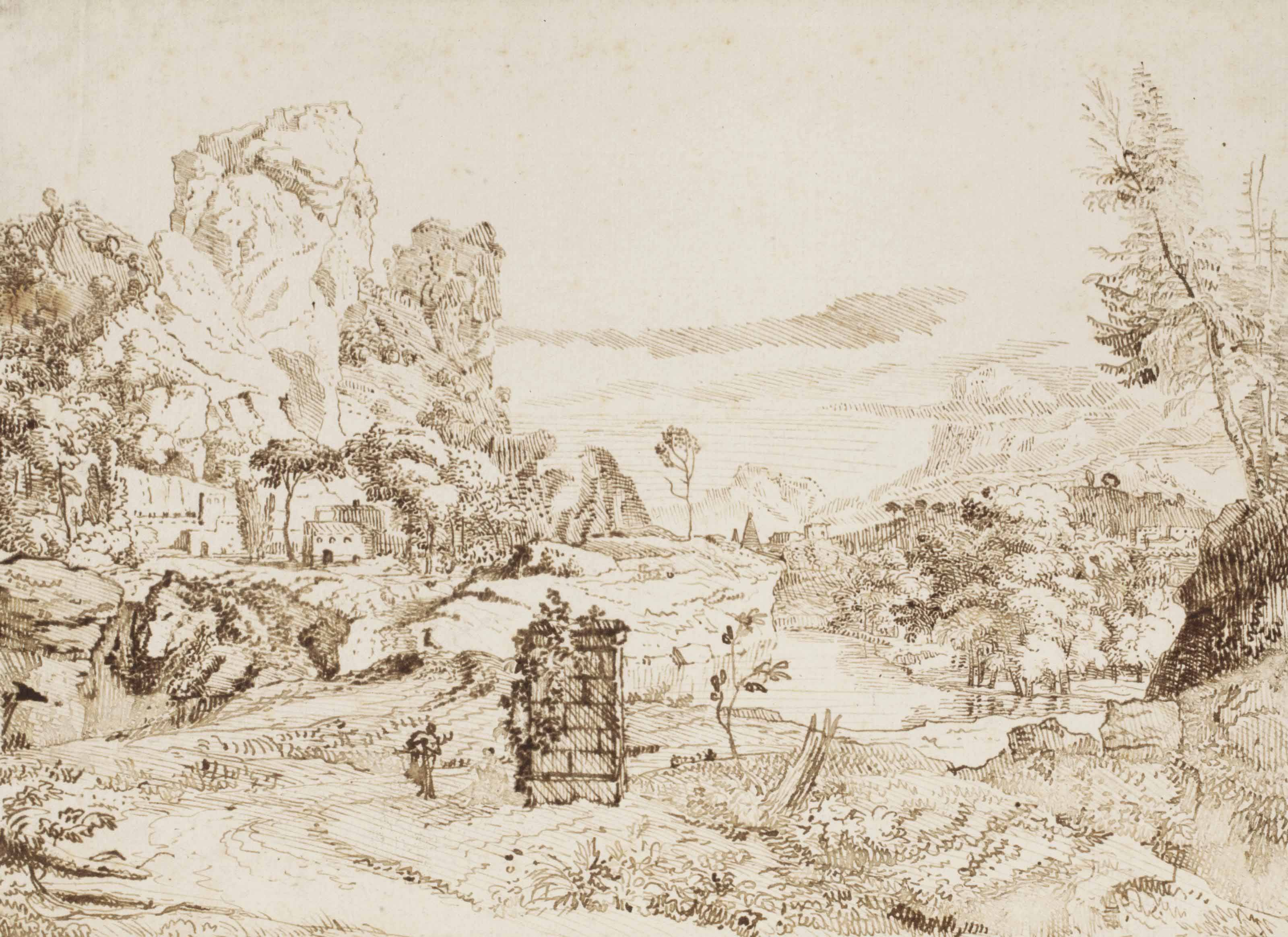 A fantasy landscape with rocks, buildings and a river passing through a valley