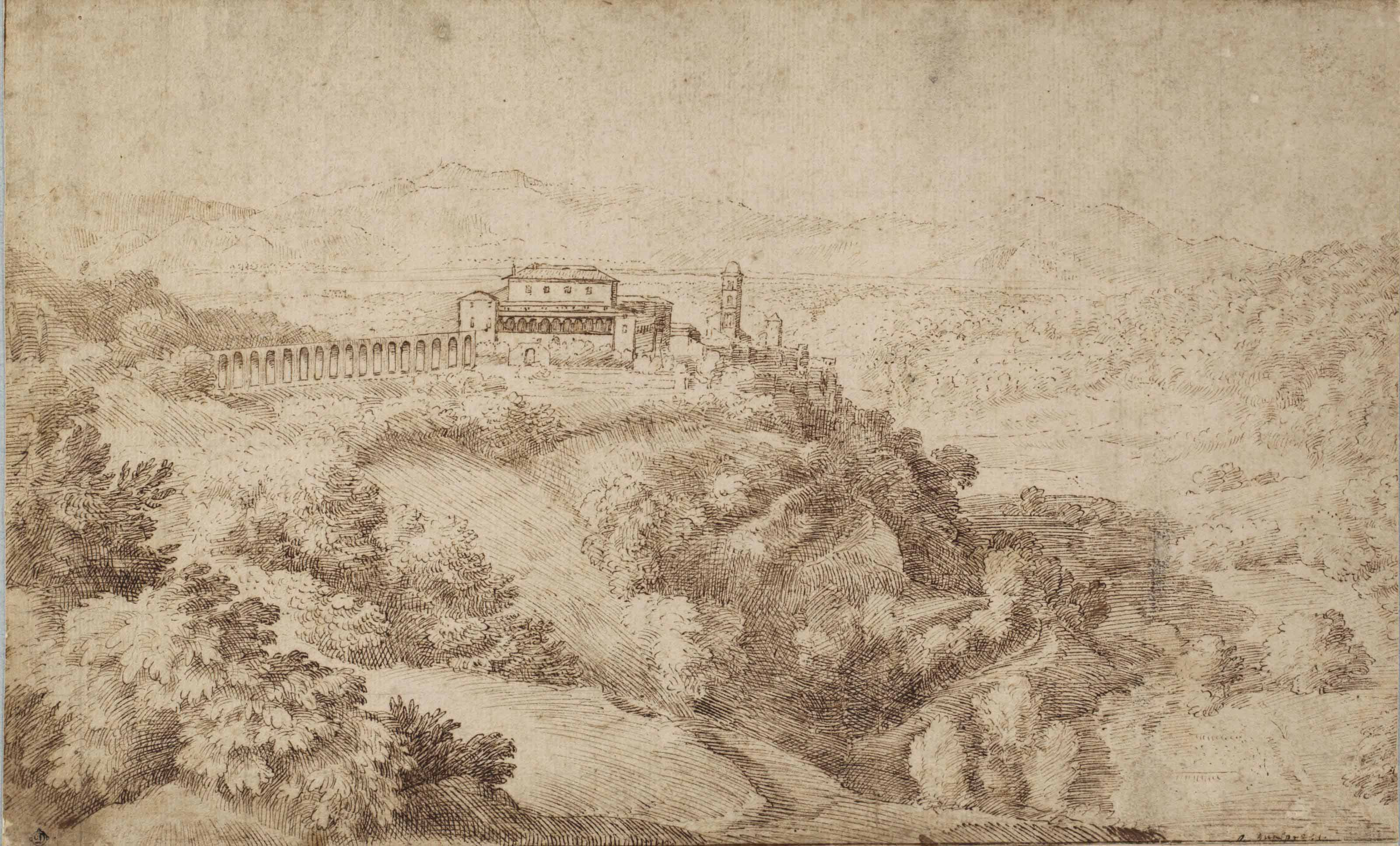 View of Genazzano with Castello Colonna and its aqueduct