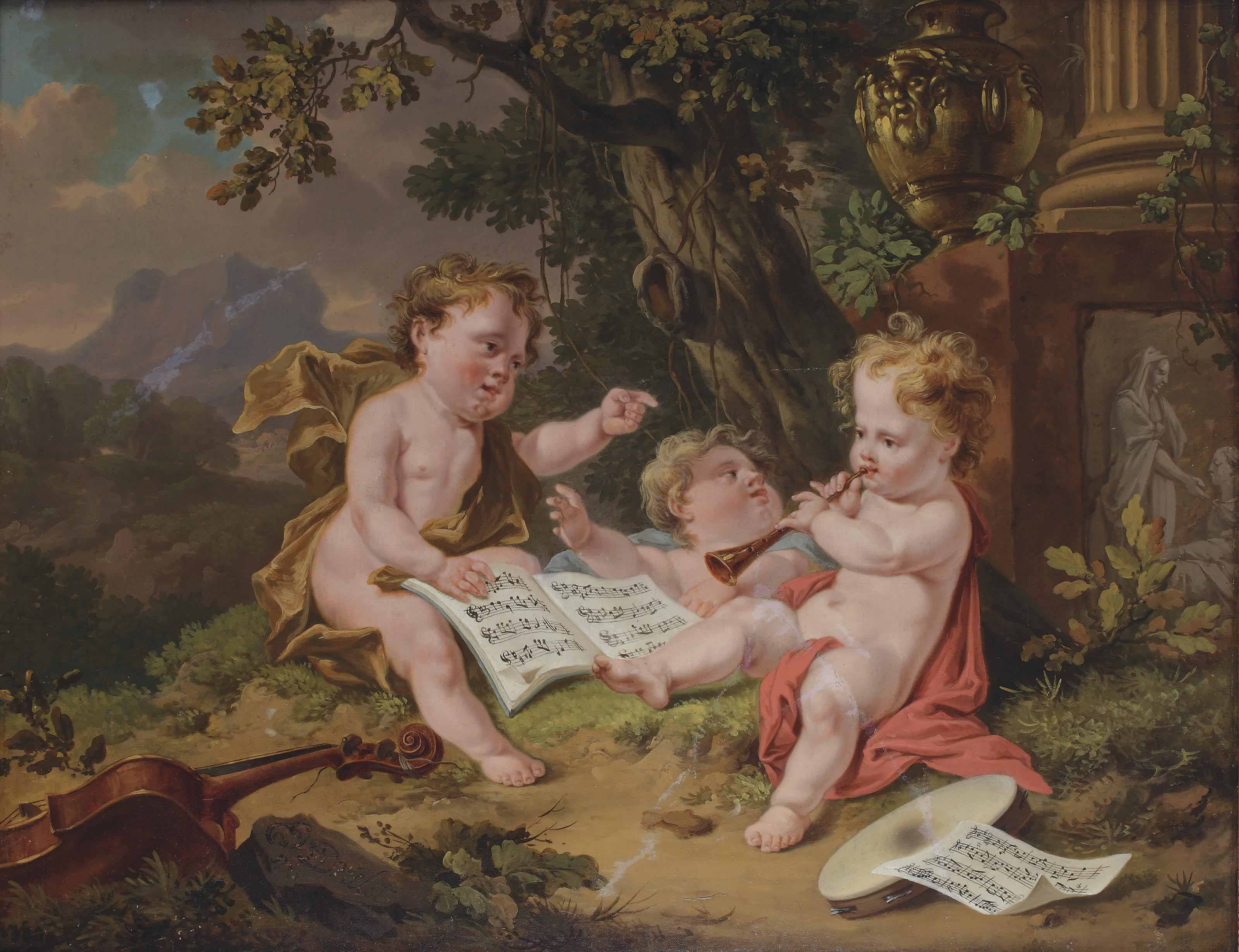 Three putti making music before a classical column with an urn and relief sculpture, a mountainous landscape beyond