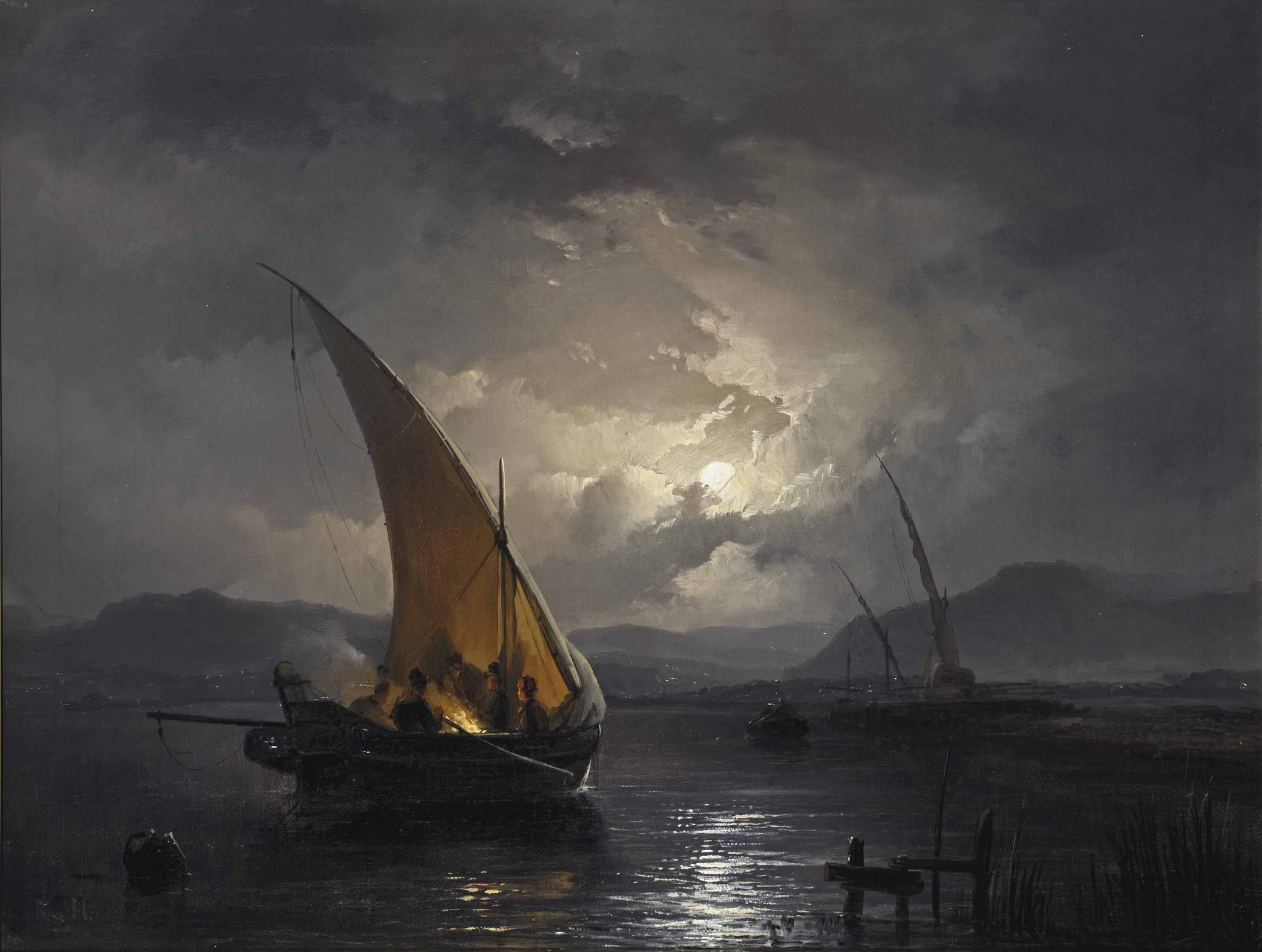 A night landscape with a sailboat where a fire is being lit
