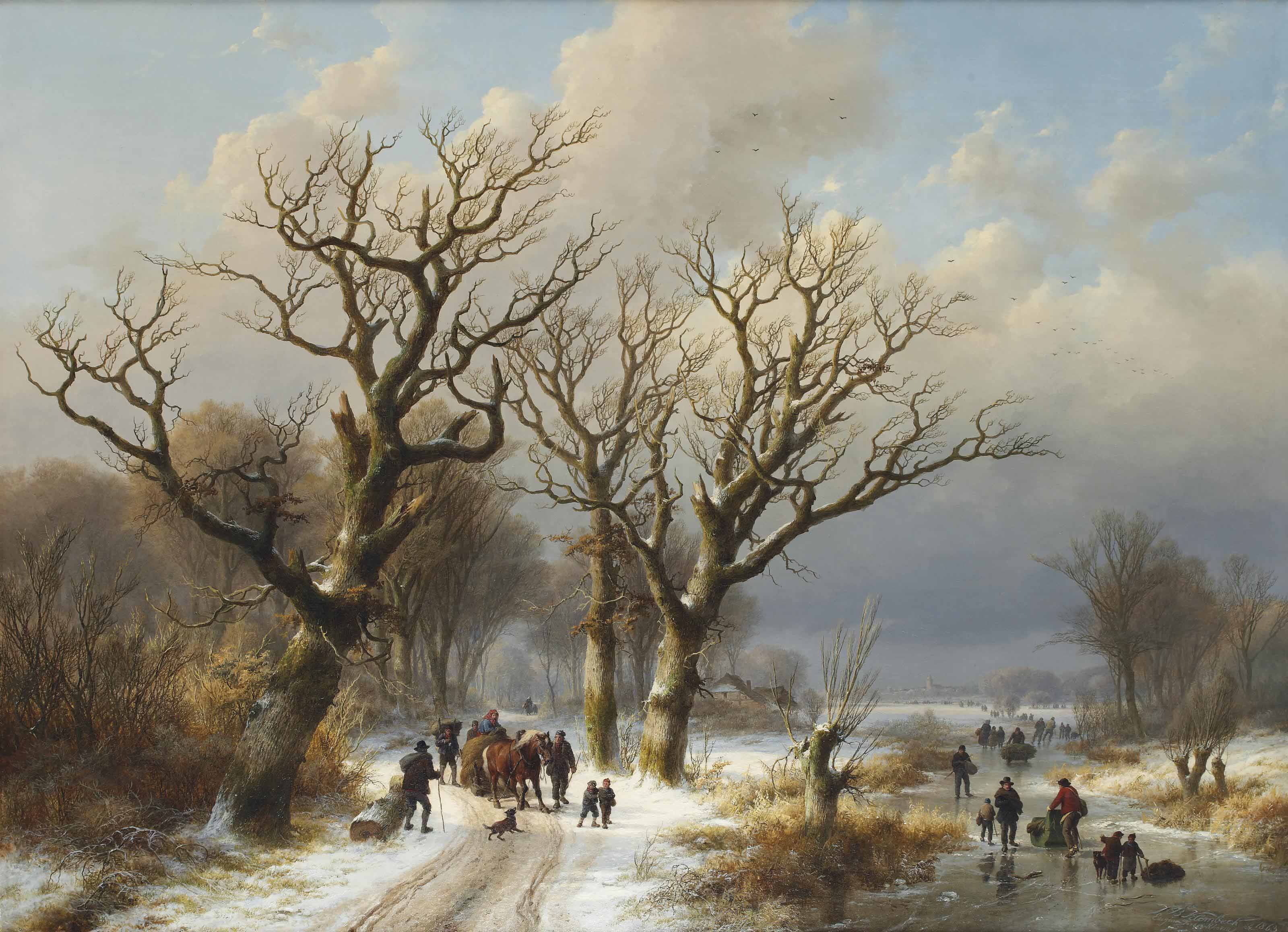 A winter landscape with numerous figures on the ice