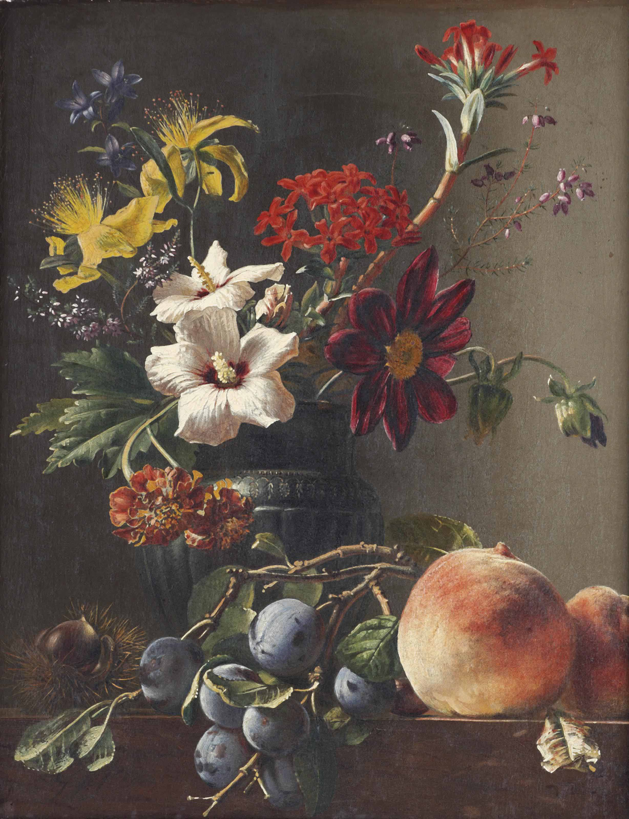 Bellflowers, dahlias, hypericum and other flowers in a vase, with a chestnut, prunes and peaches on a ledge