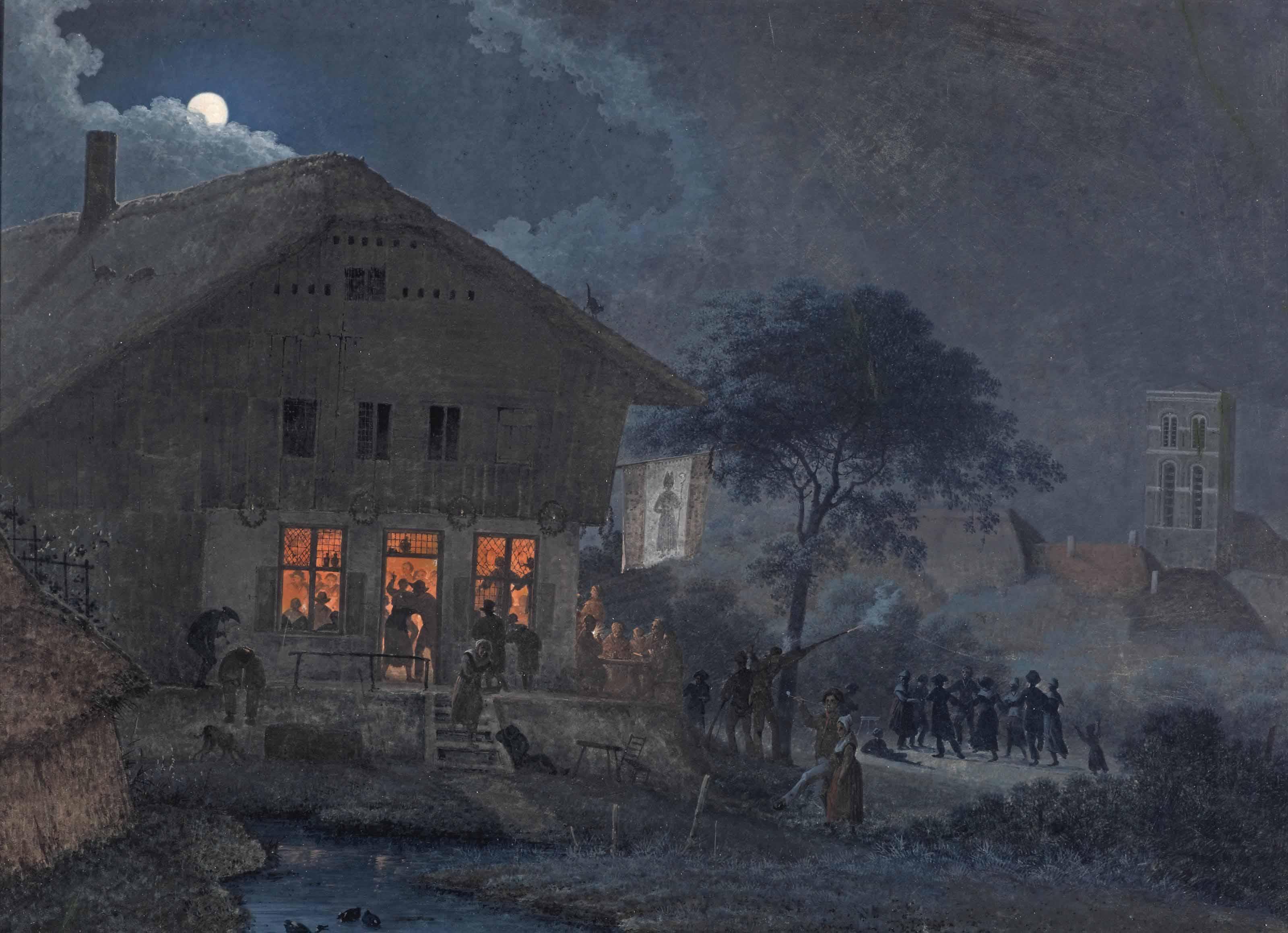 A feast by full moon near a village inn