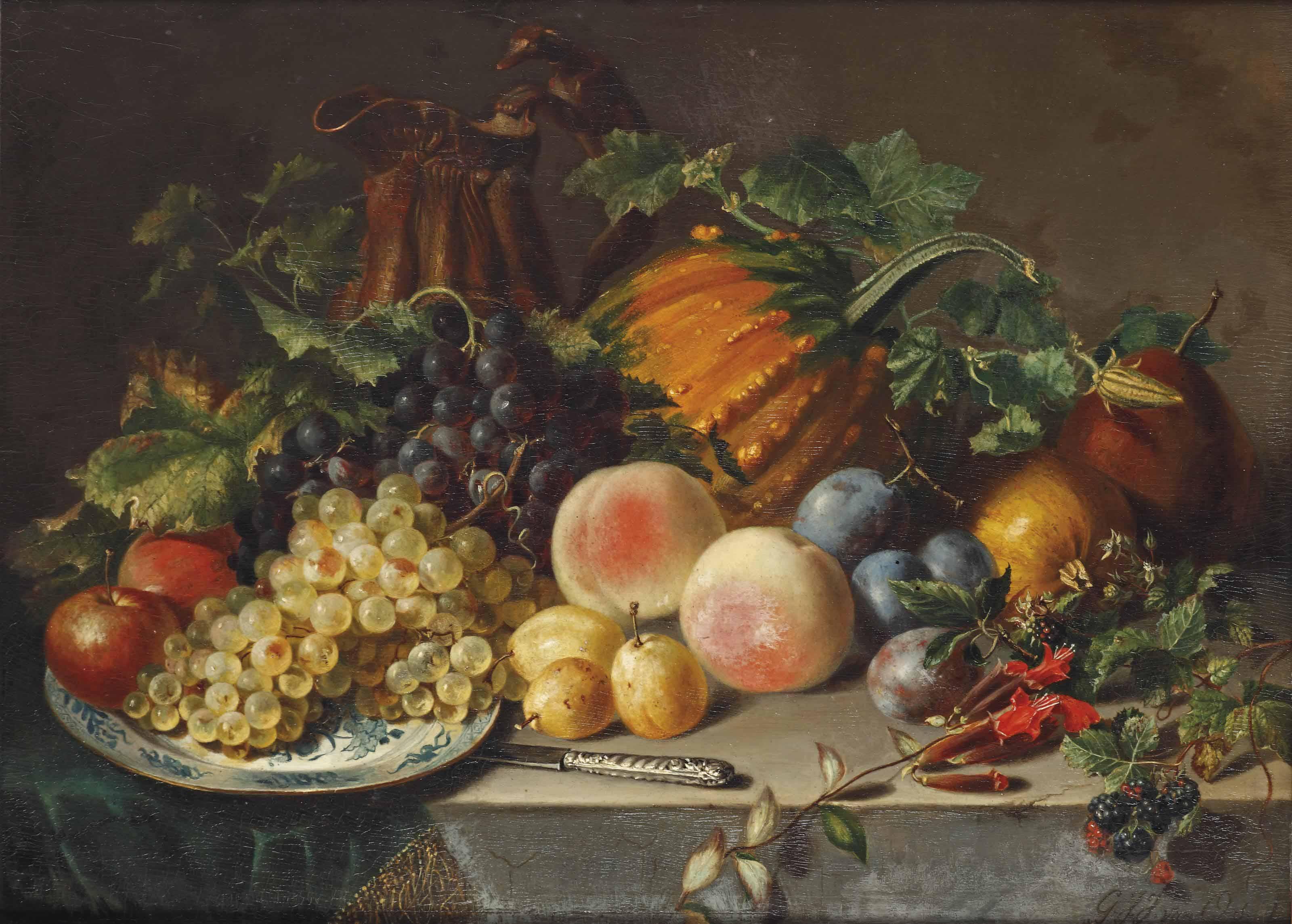 An abundant fruit still life with grapes, apples, peaches, prunes and a pumpkin