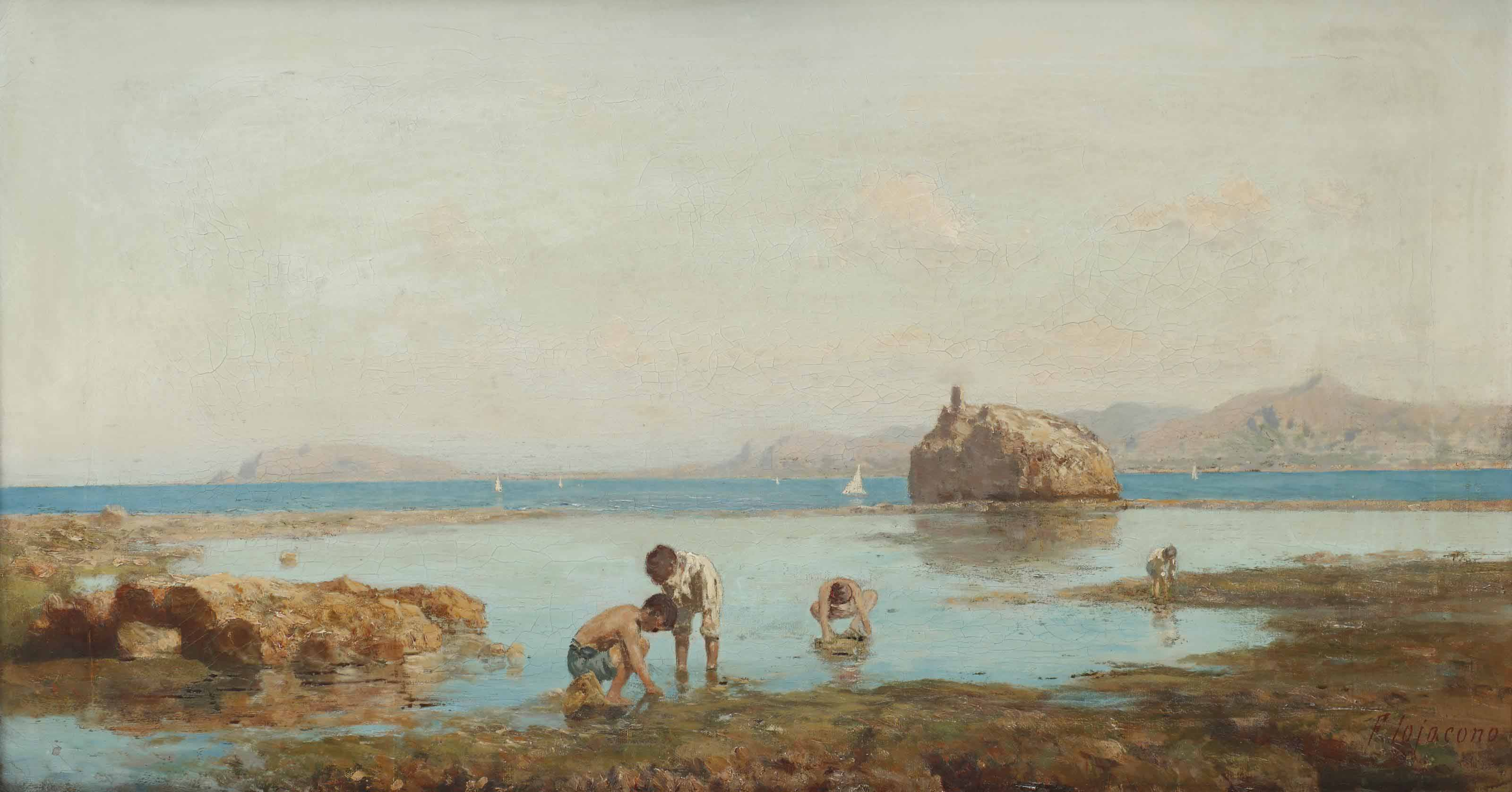 Children fishing in the bay of Palermo, Sicily