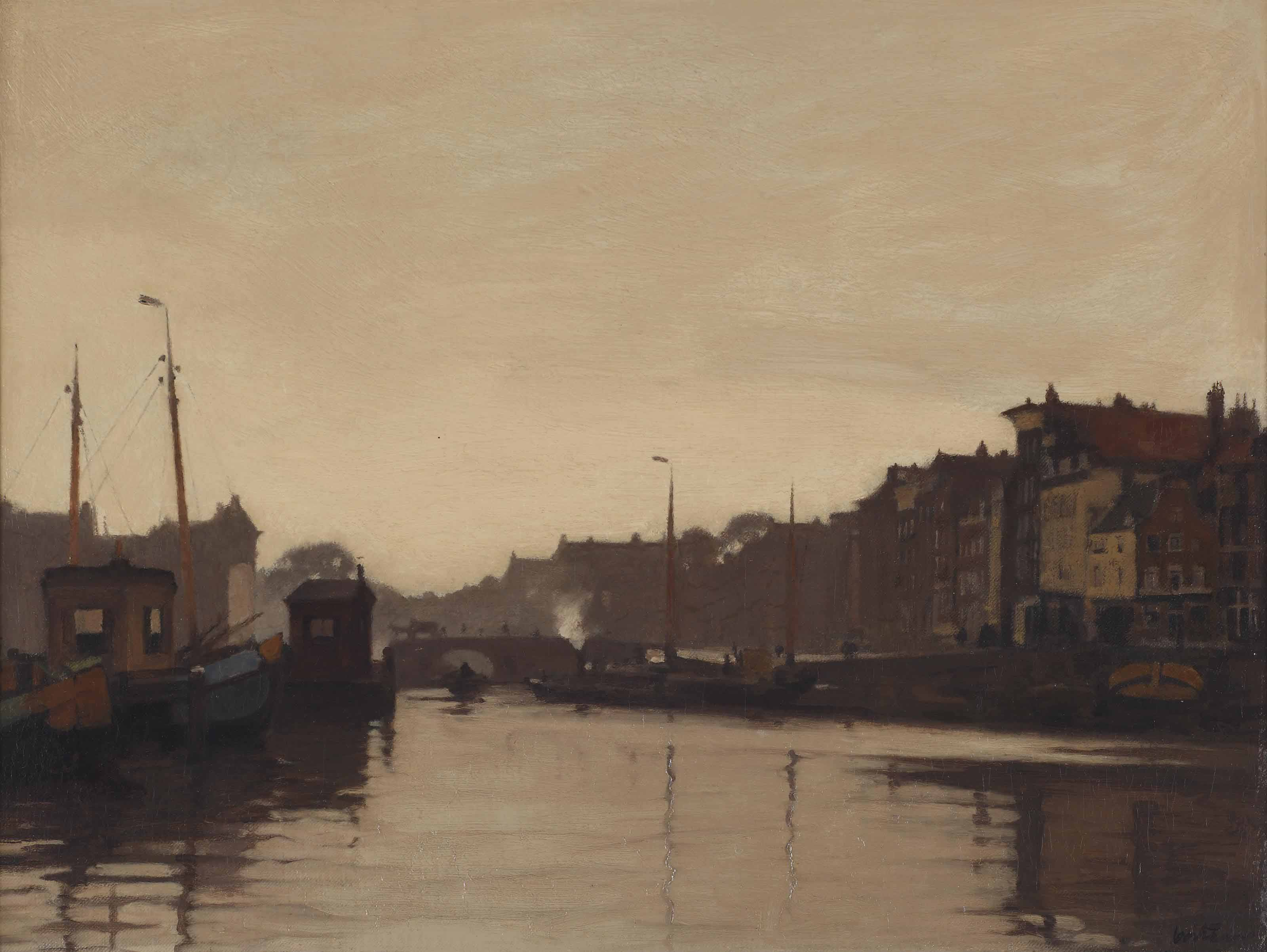 A view of the Waalseilandsgracht and the Kraansluis, Amsterdam