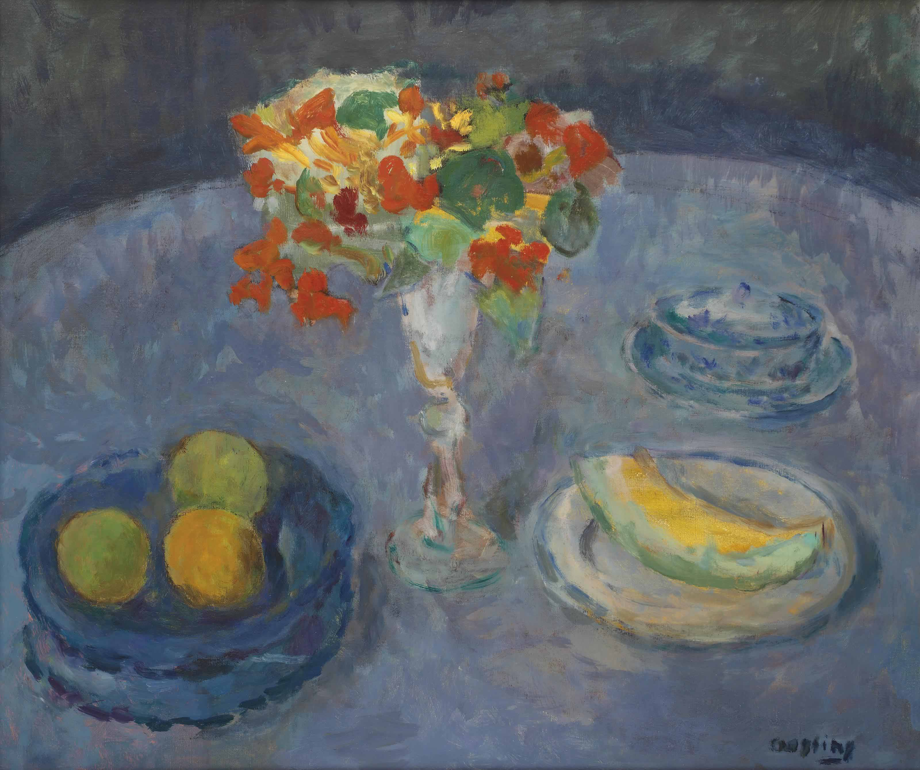 A still life with fruits and Indian cress