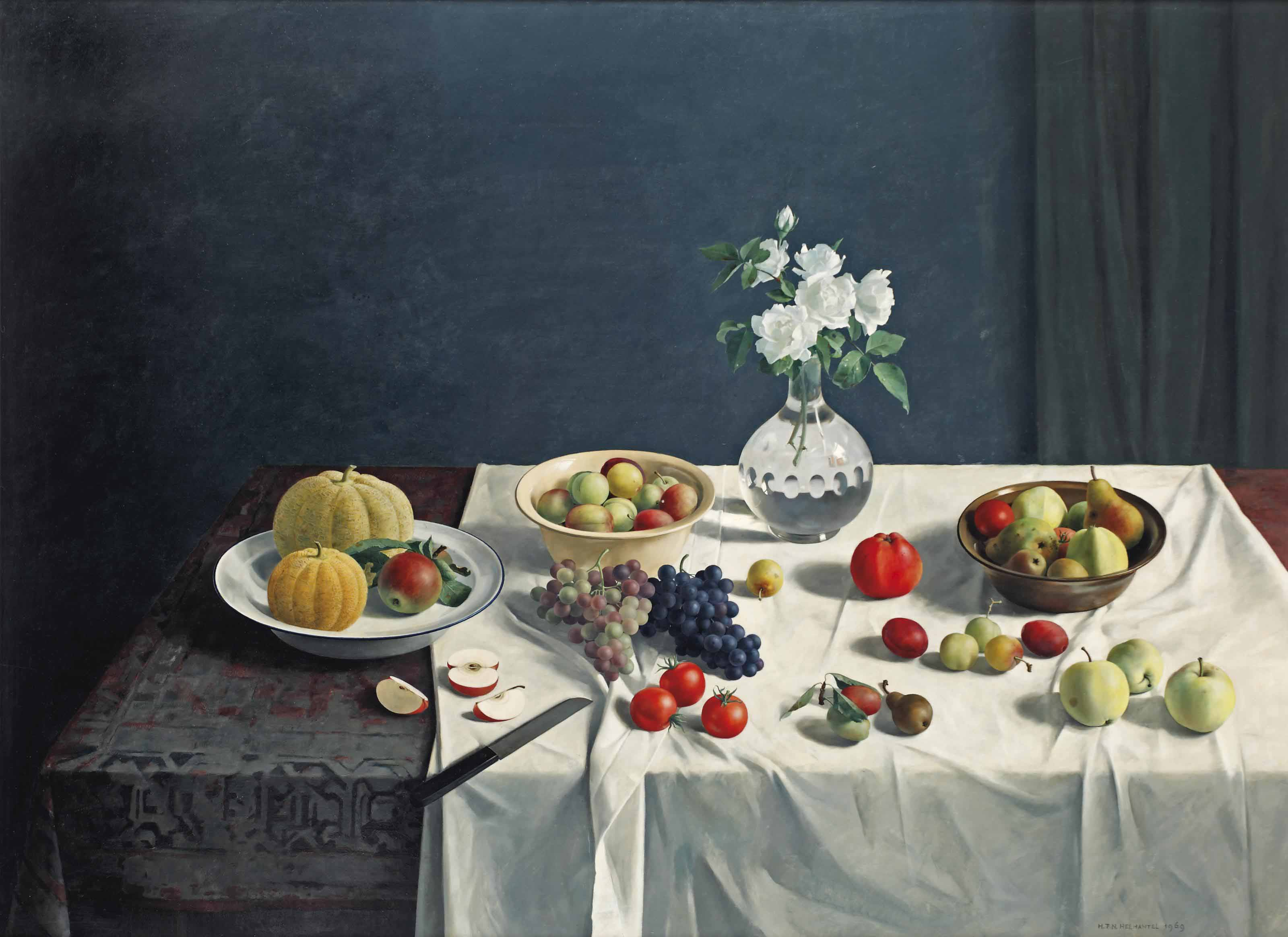 A still life with fruits and flowers