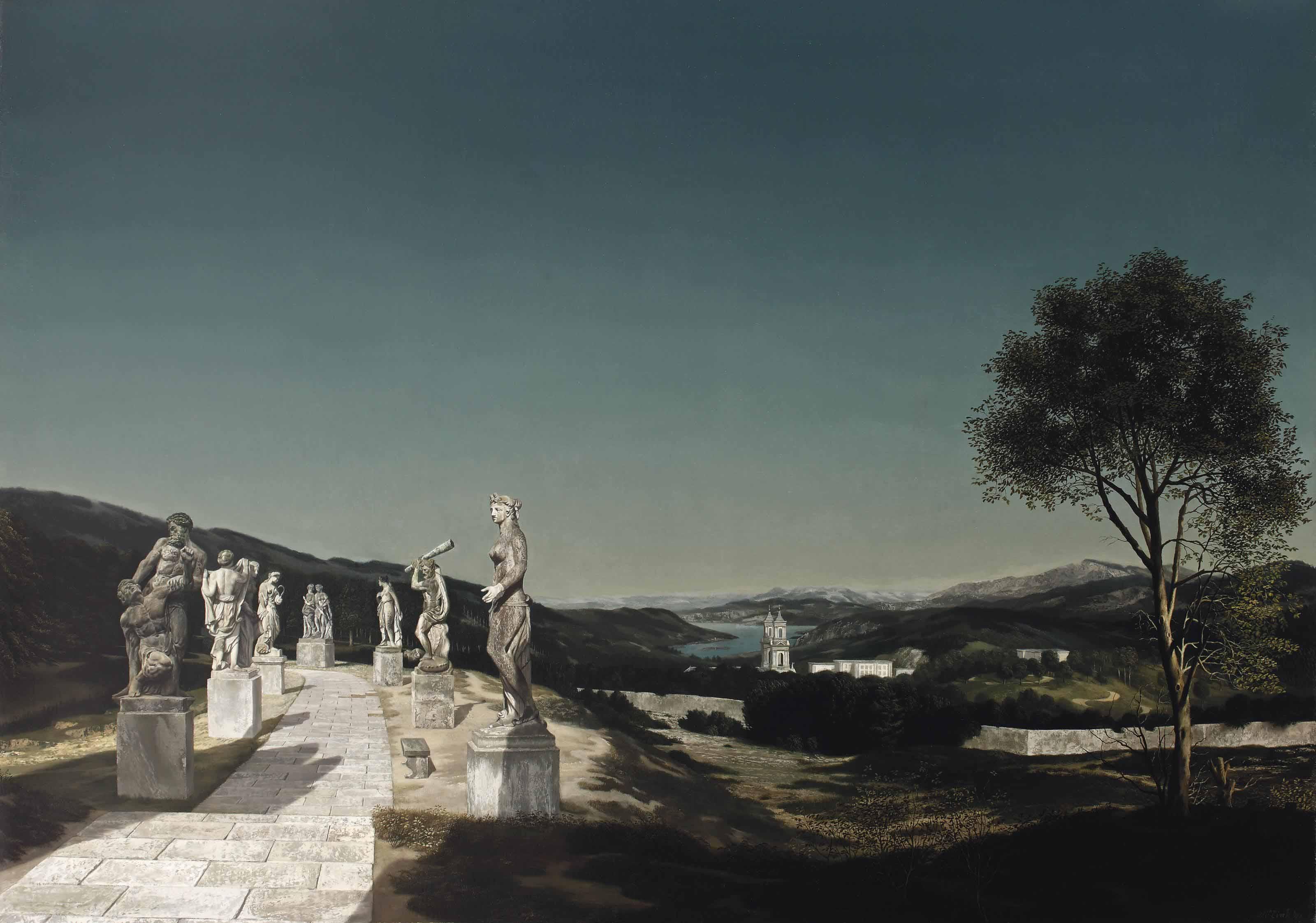 Landschap met zeven beelden