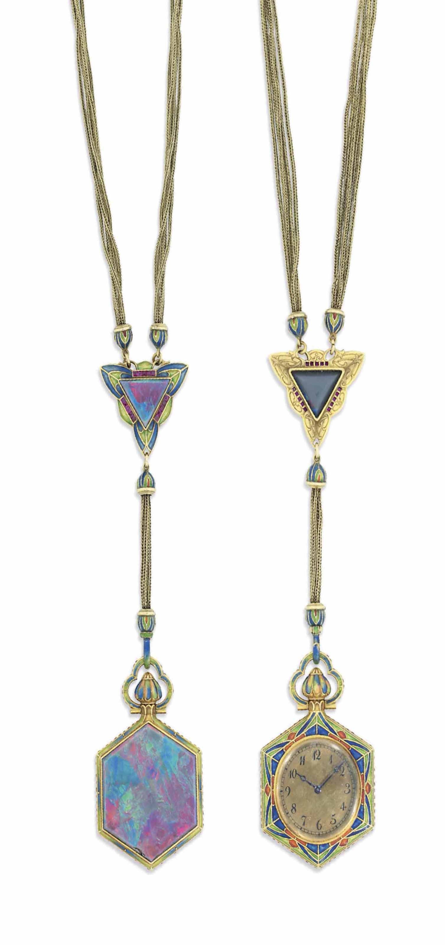 AN EARLY 20TH CENTURY BLACK OPAL WATCH PENDANT, BY MARCUS & CO