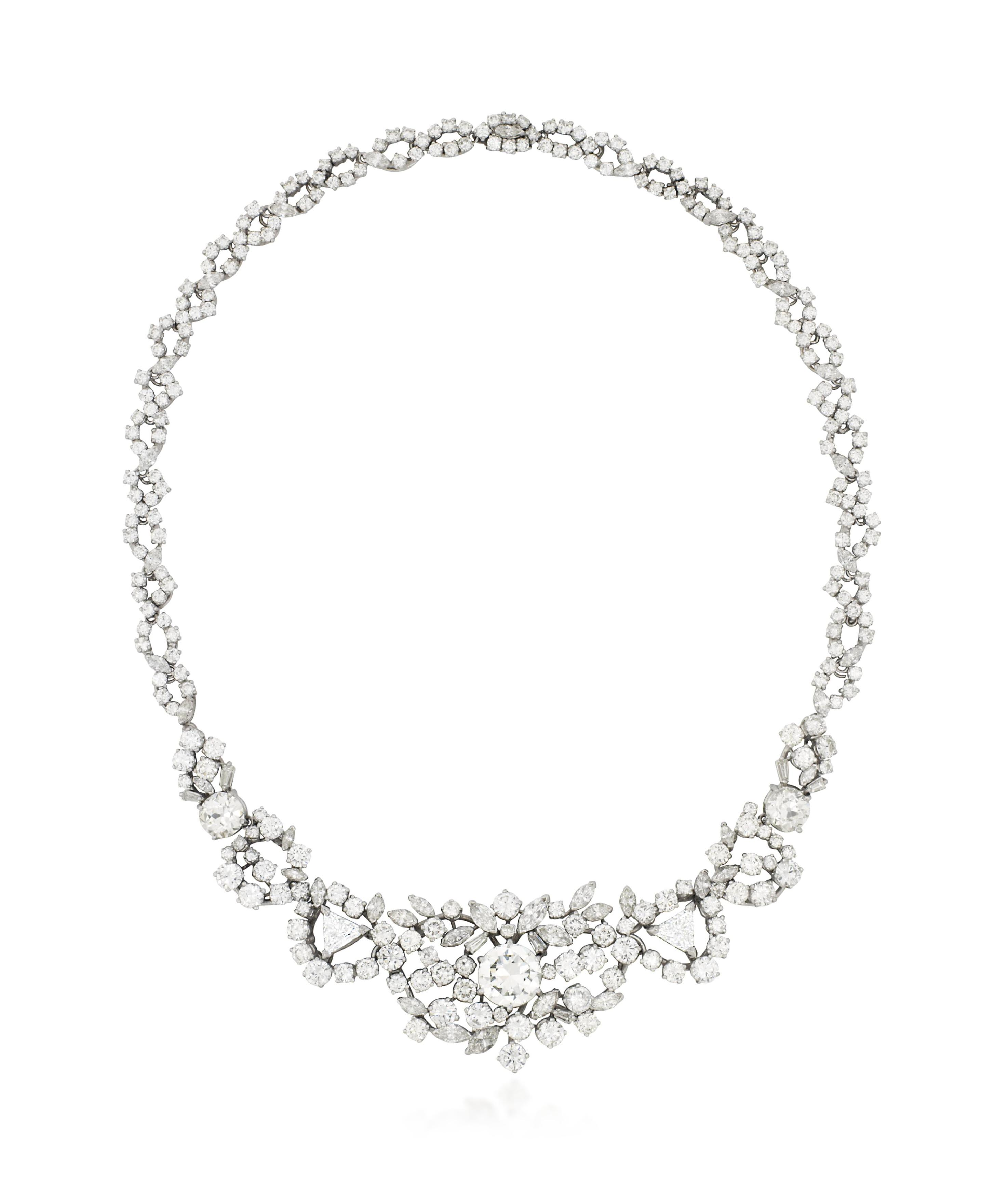 AN 18 CARAT WHITE GOLD AND DIAMOND NECKLACE, BY GARRARD & CO.