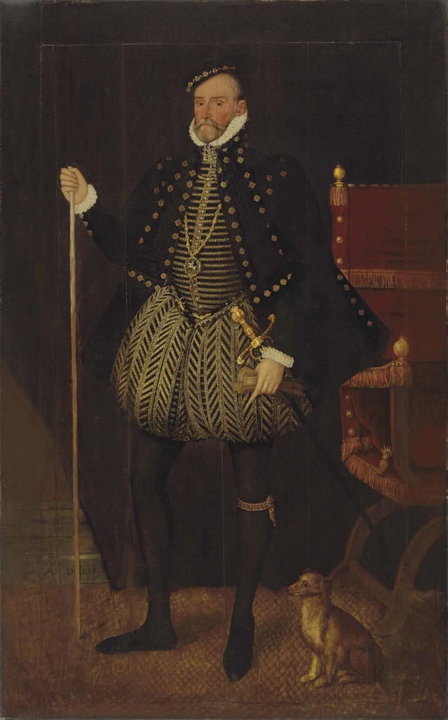 Portrait of William Herbert, 1st Earl of Pembroke (1506-1570), full-length, in a richly embroidered black doublet and hose, wearing the Order of the Garter with a pendant of the Greater Saint George