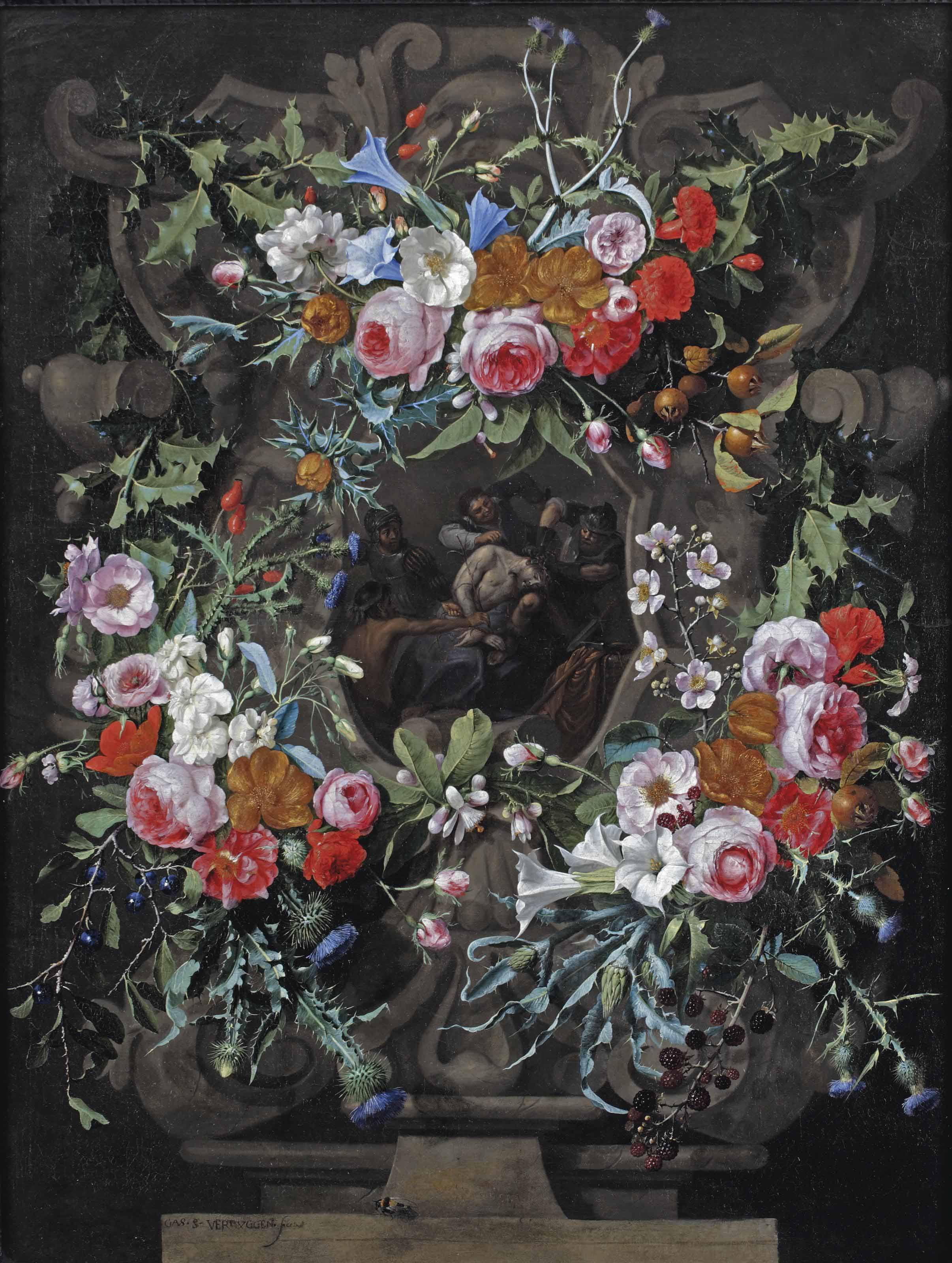 The Mocking of Christ surrounded by a sculpted cartouche with a garland of holly, thistles, blue and white morning glory, peonies, dog roses and other flowers, with a bee on a stone ledge