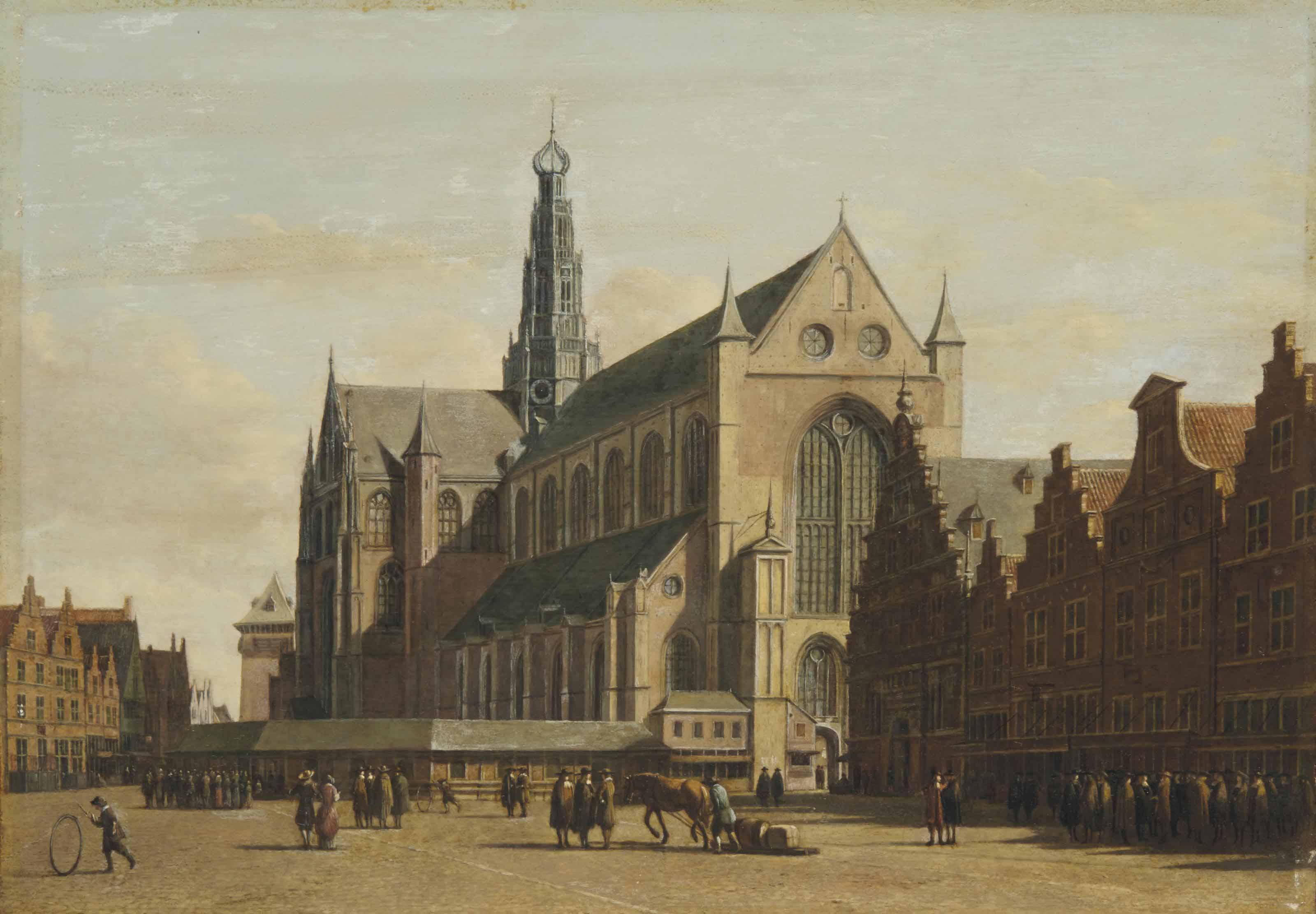 The Grote Markt, Haarlem, looking south-east, with the Church of Saint Bavo