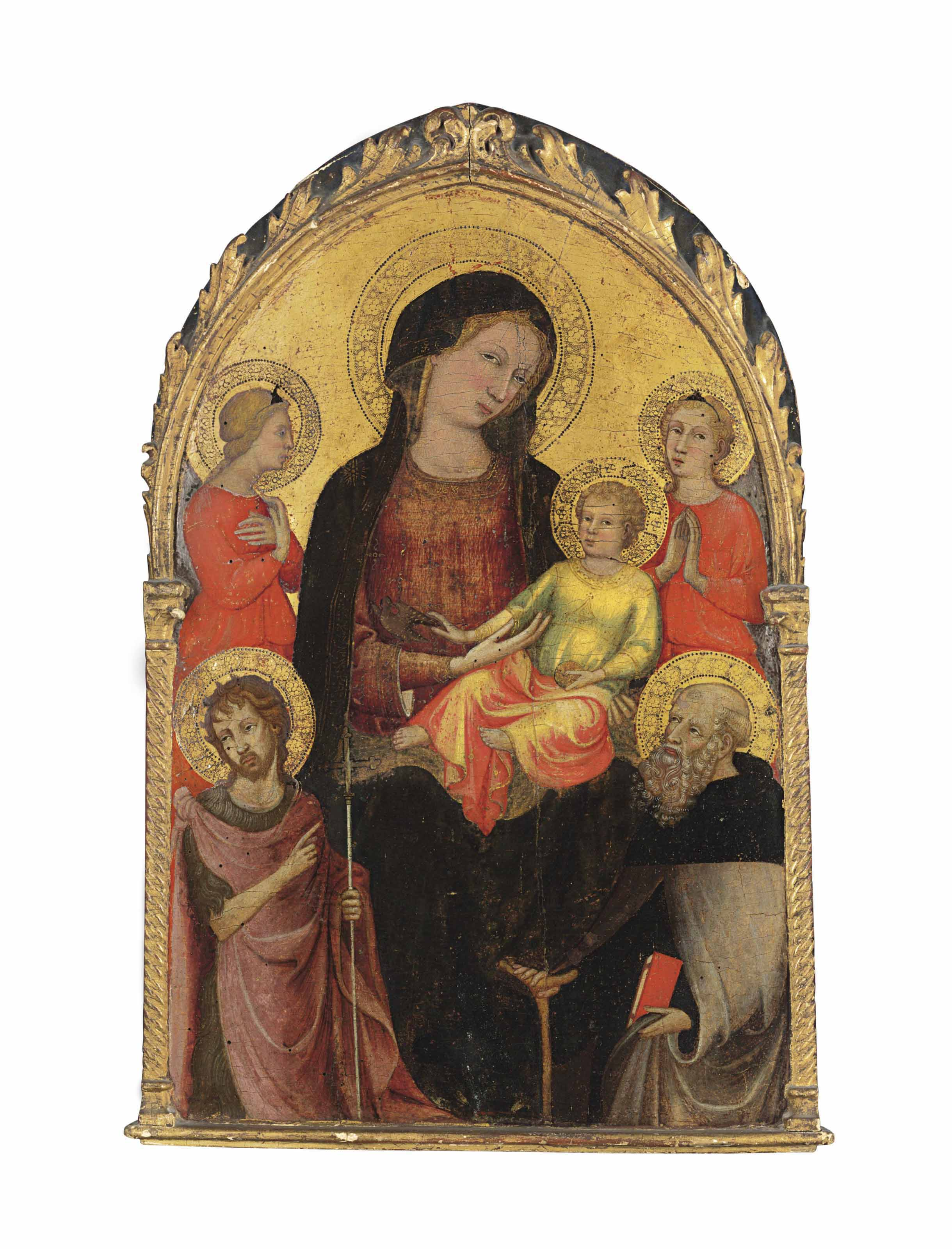 The Madonna and Child with a goldfinch, with Saints John the Baptist and Anthony Abbot and two angels