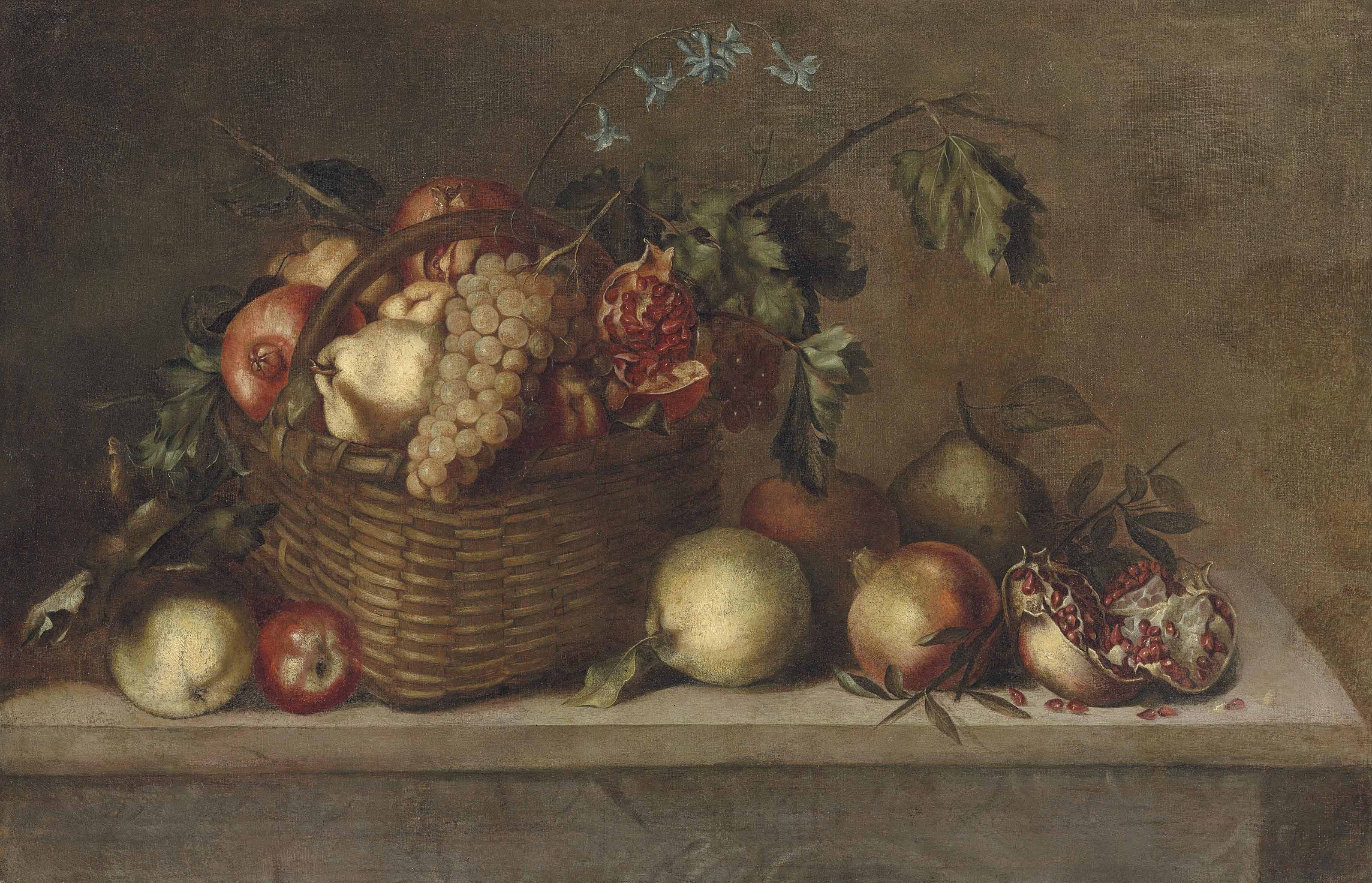 Pears, pomegranates and grapes in a basket and other fruit on a stone ledge