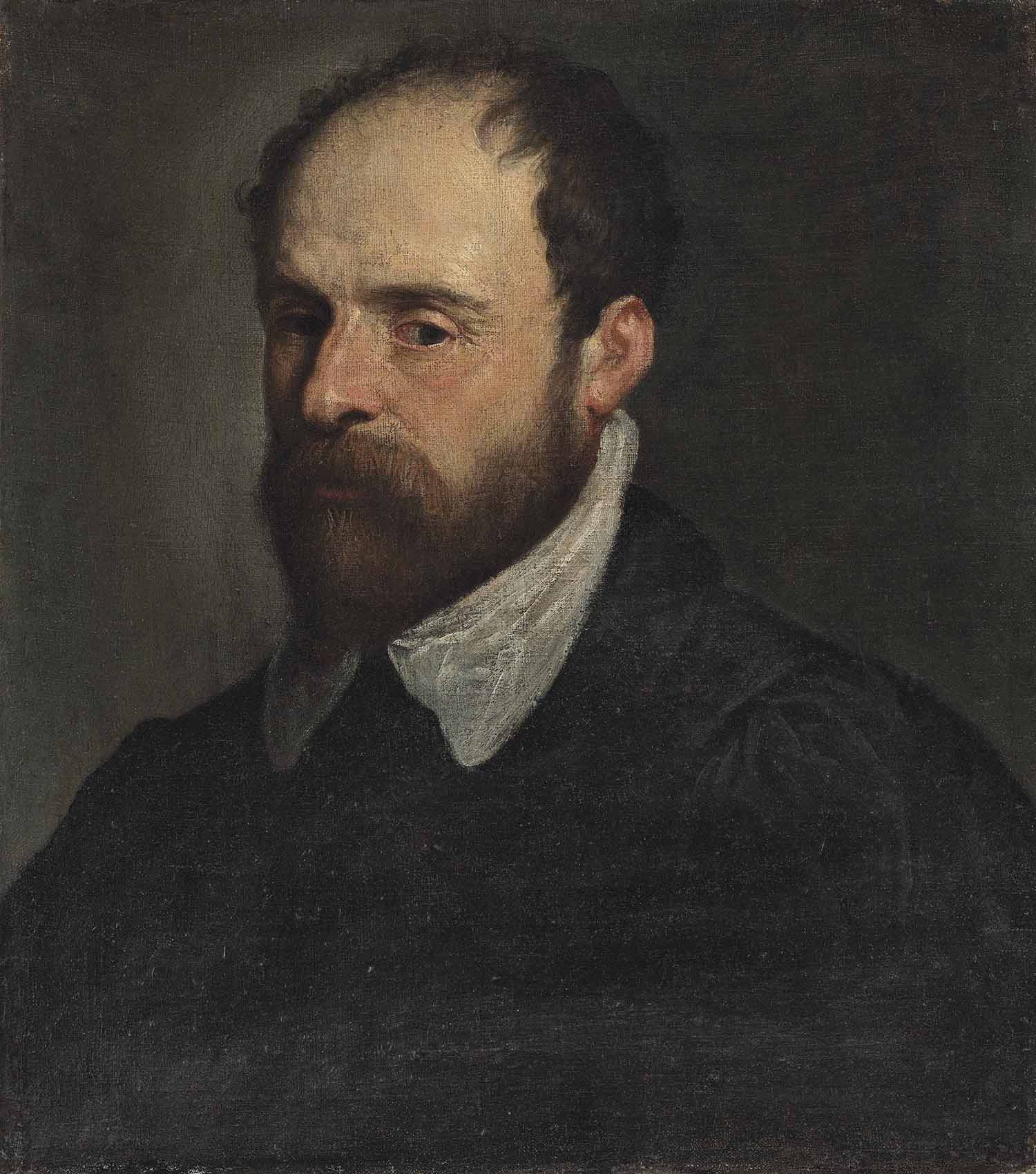 Portrait of a bearded gentleman, half-length, in a black doublet with a white collar