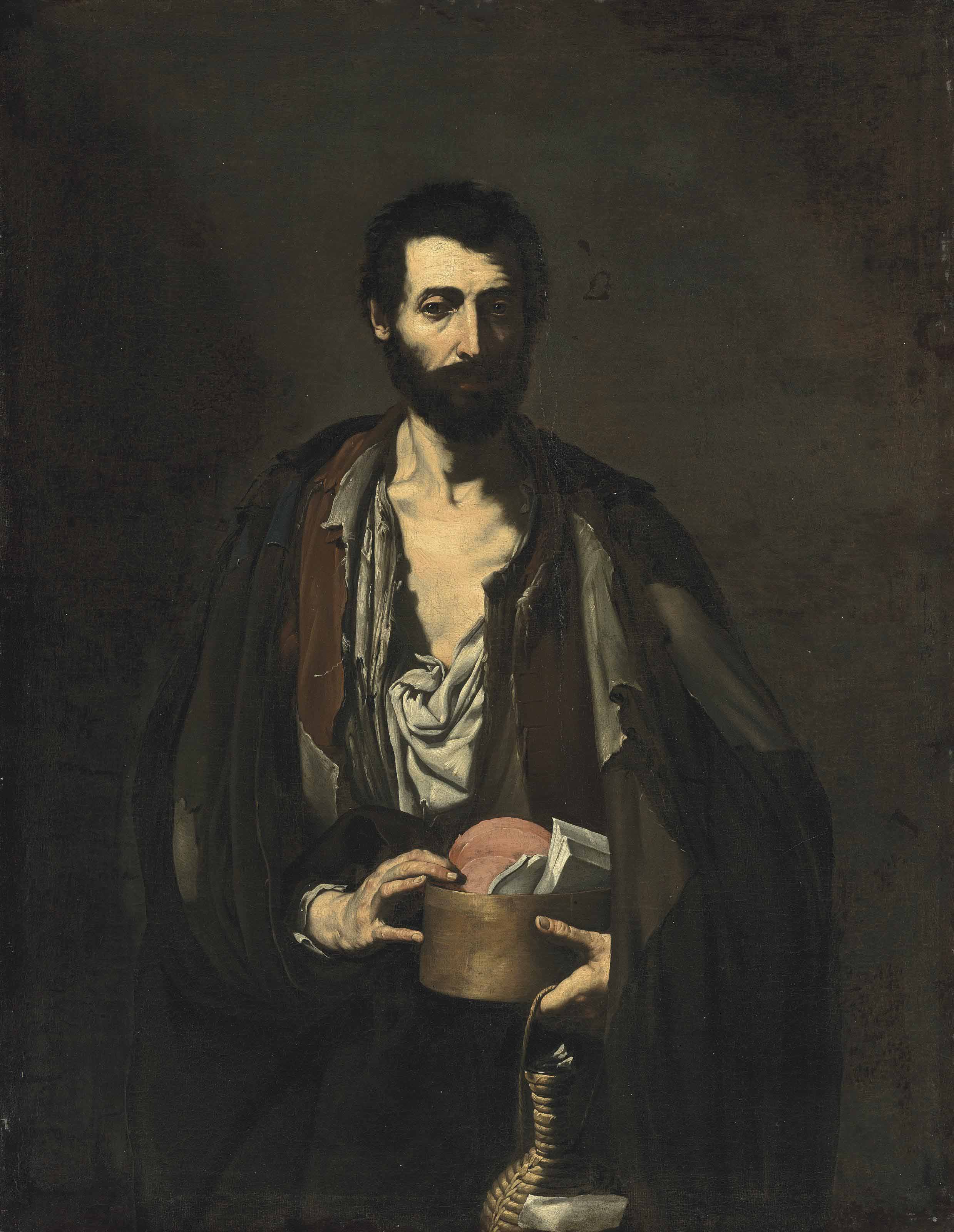 A philosopher, half-length, in a torn white shirt and brown jacket, holding books and a wicker flask