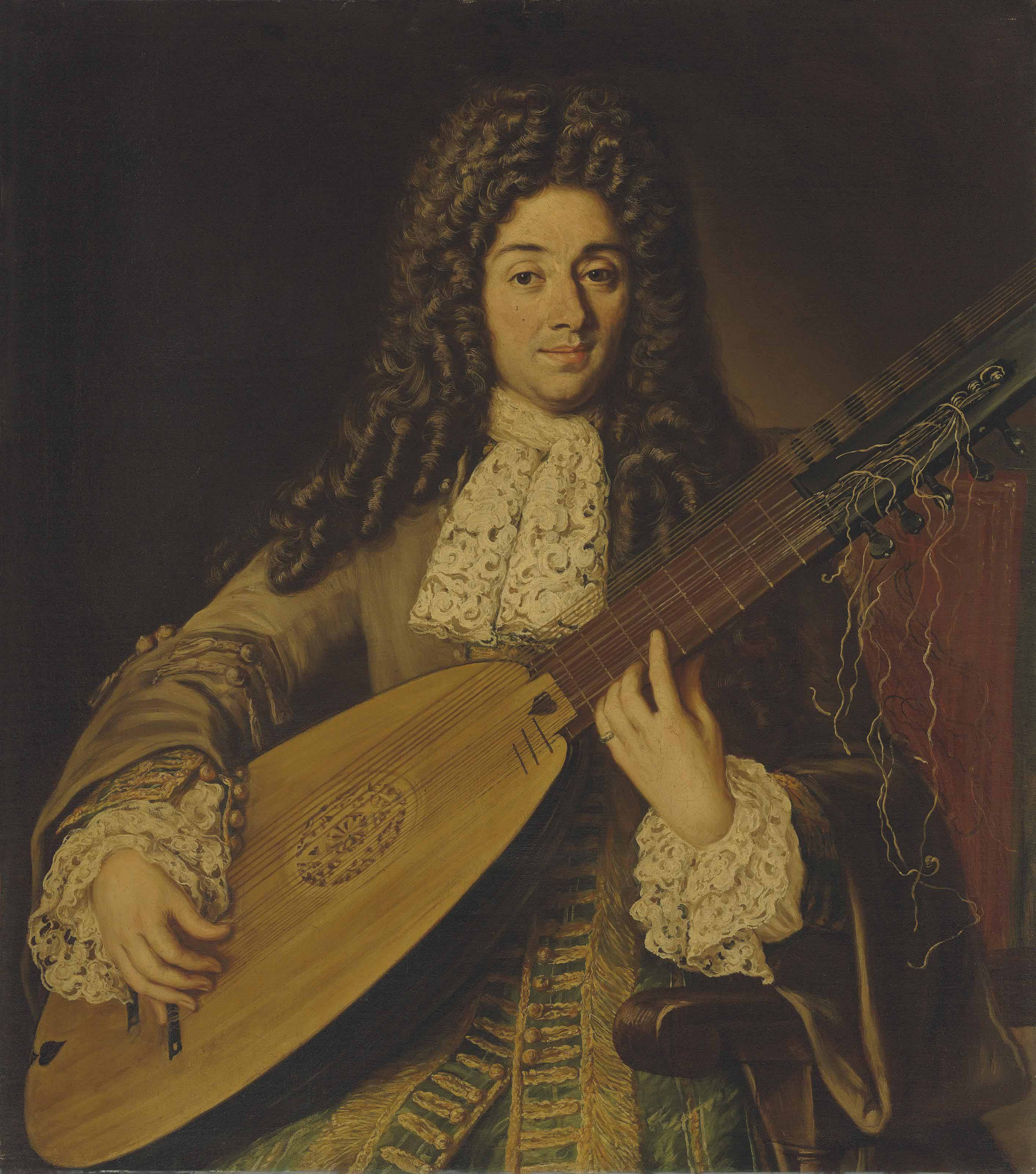 Portrait of a musician, probably Petruccio, half-length, playing a theorbo